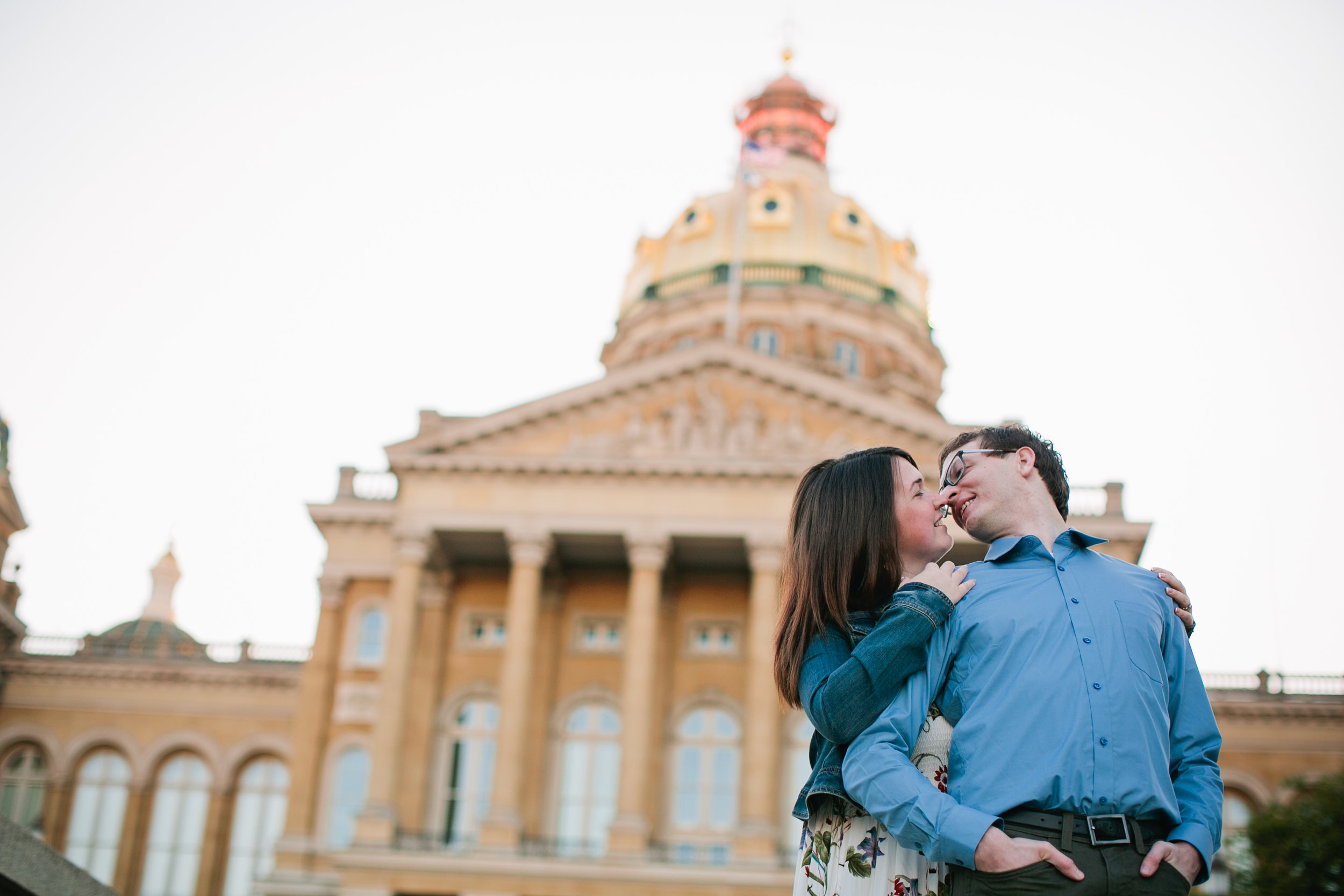 Iowa state capitol engagement photos early morning golden hour