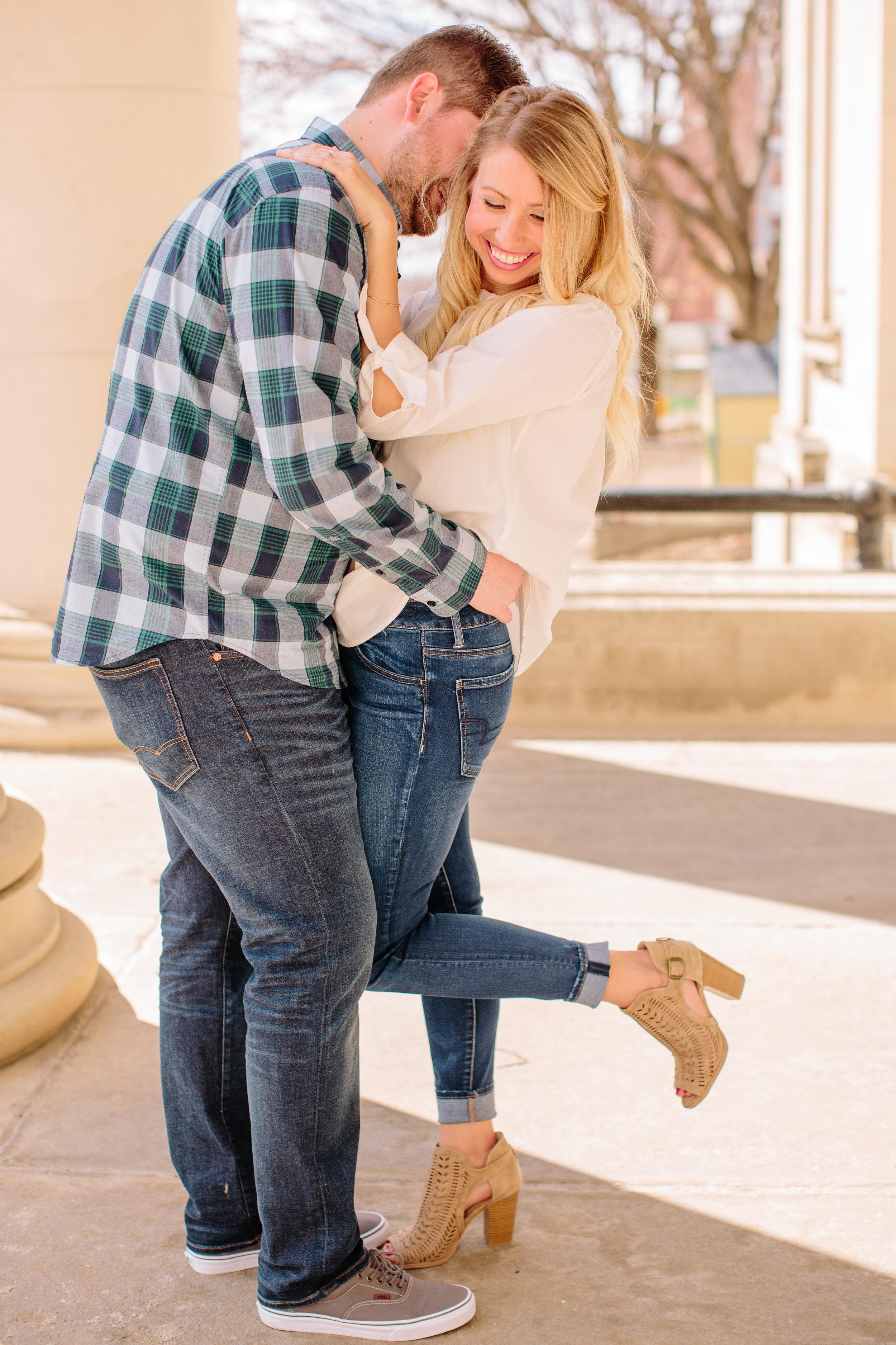 Des Moines downtown engagement photos