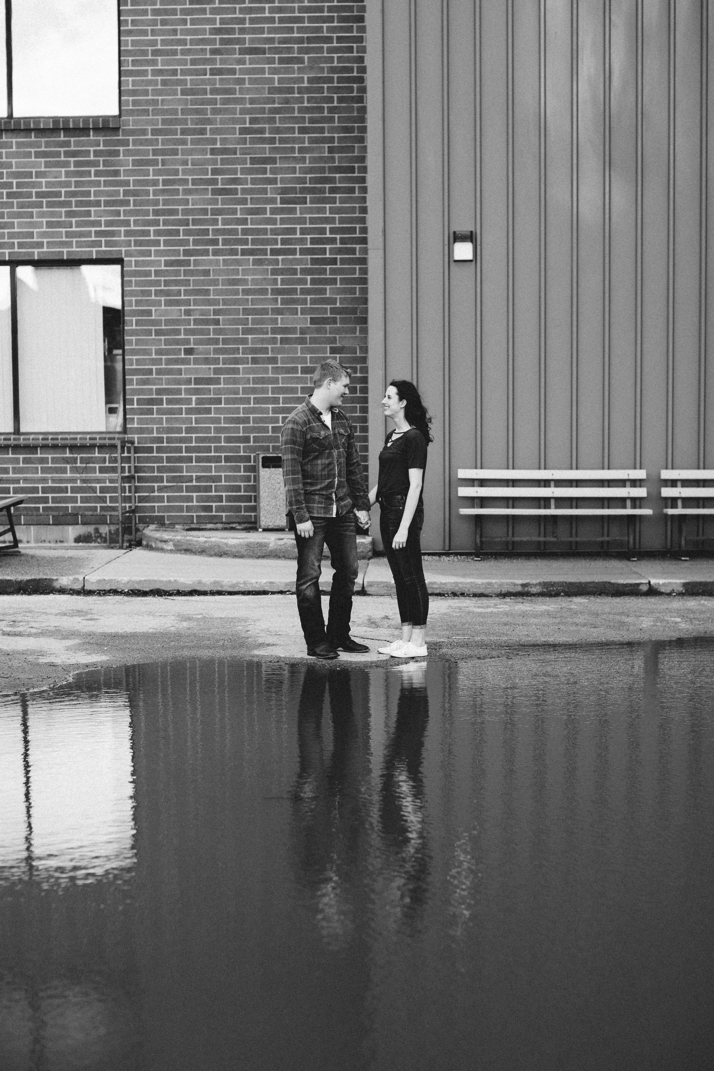 water reflection engagement photos