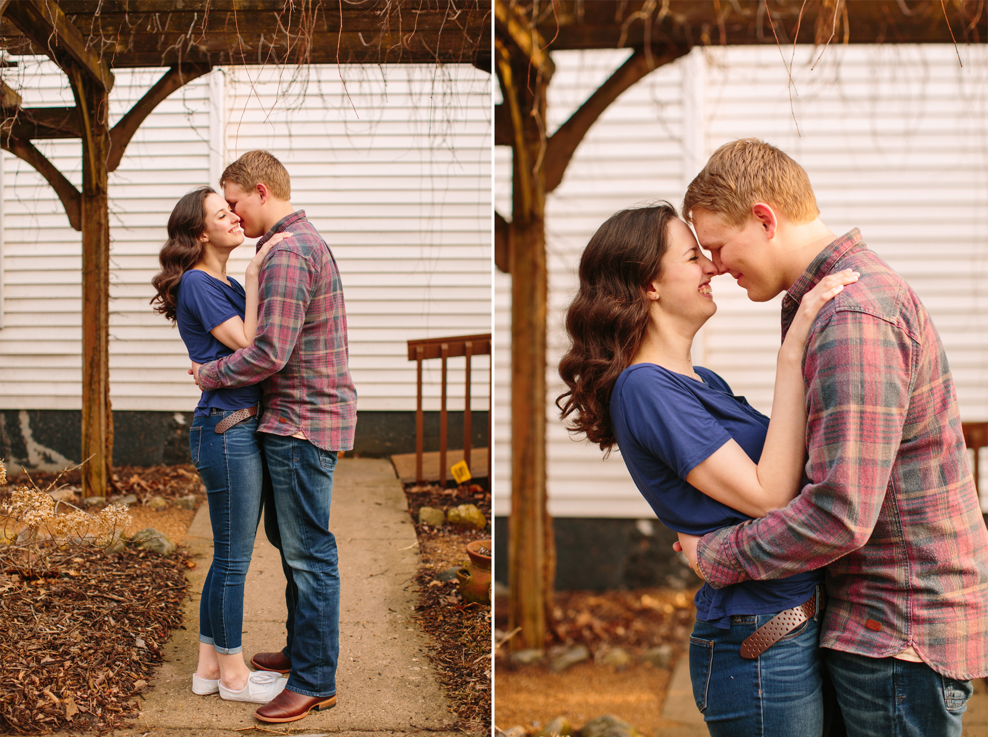 cute couple facing each other and hugging engagement photos des moines