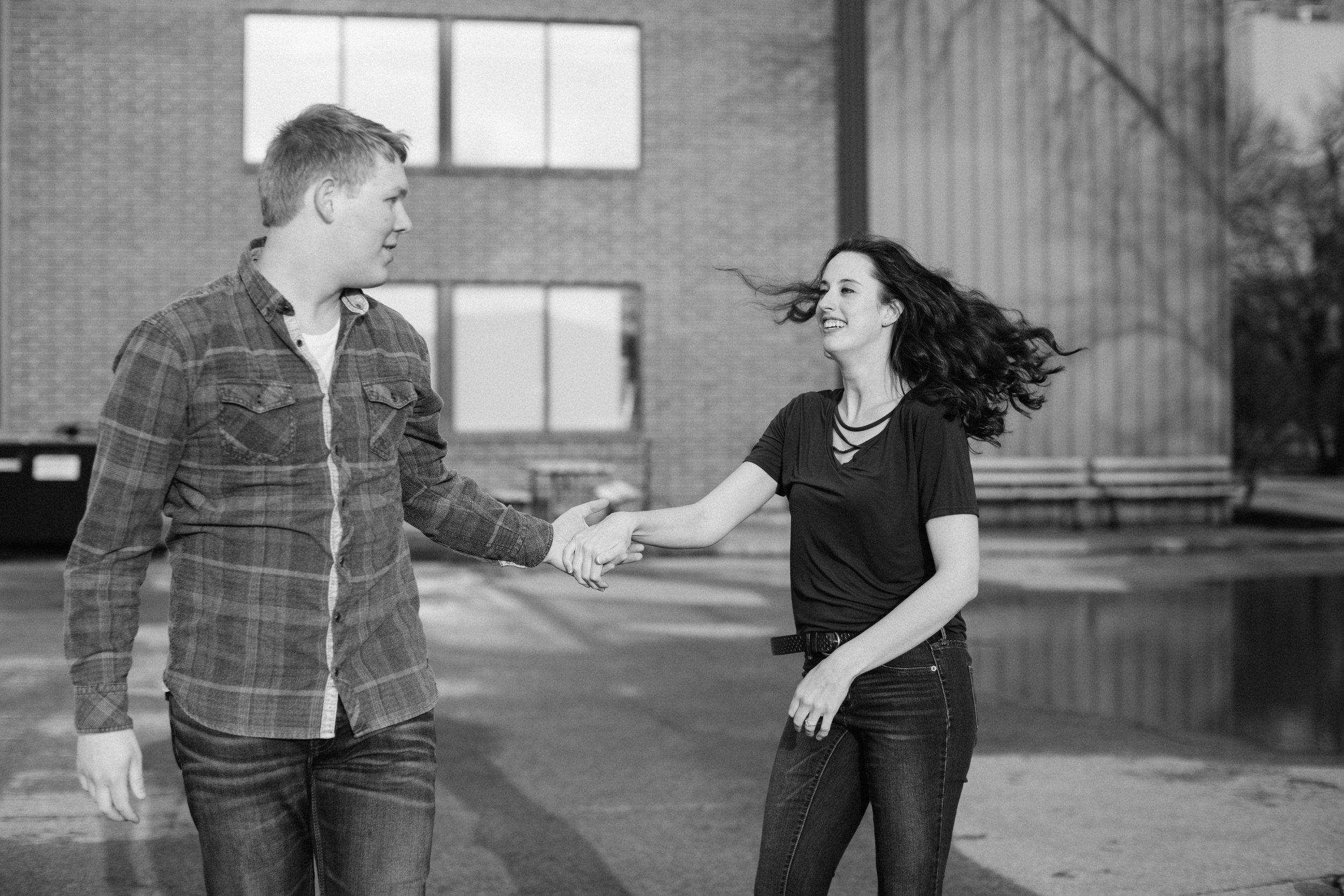 dancing natural engagement photos