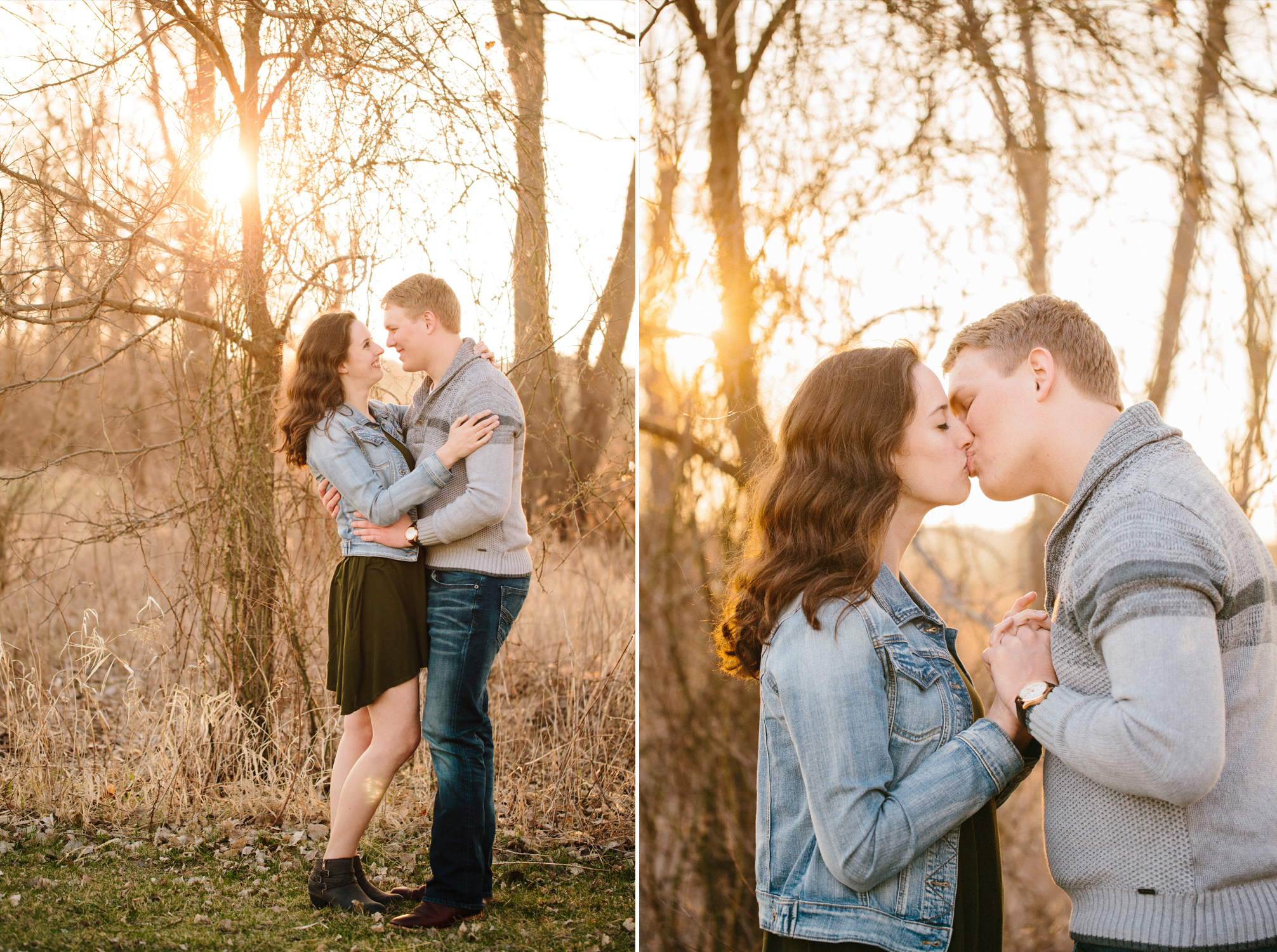 romantic professional engagement photos at sunset in Des Moines iowa