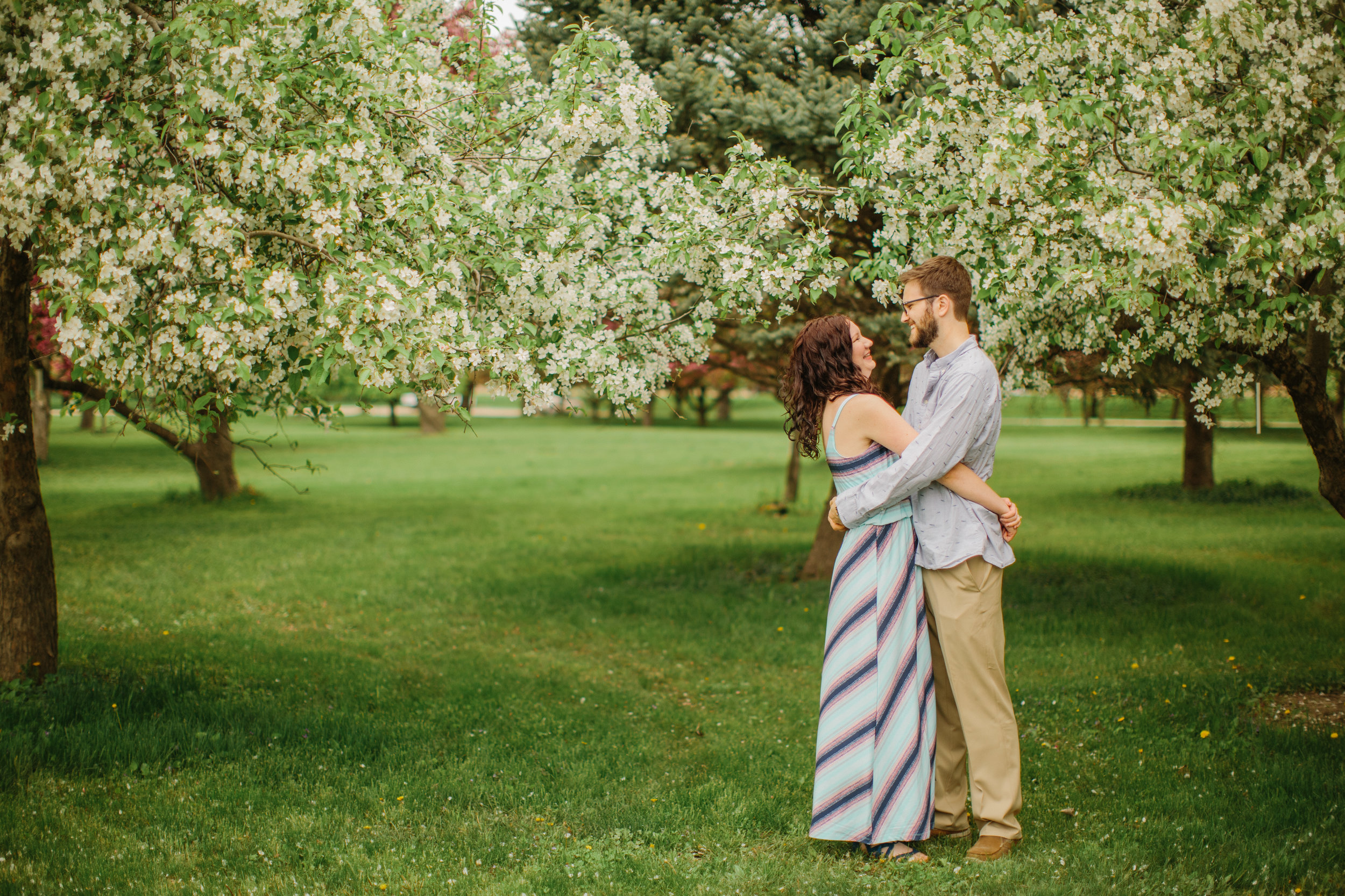 spring engagement photos with flowering trees couple hugging outdoors