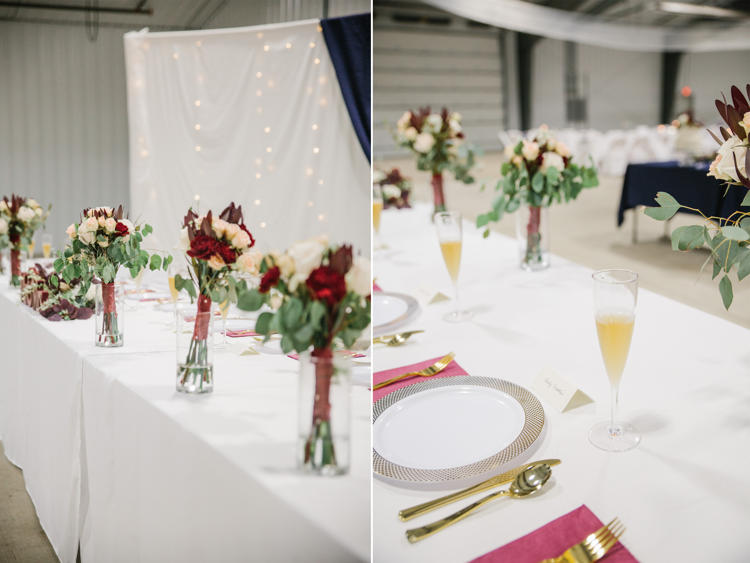 barn wedding reception decor ideas white and gold