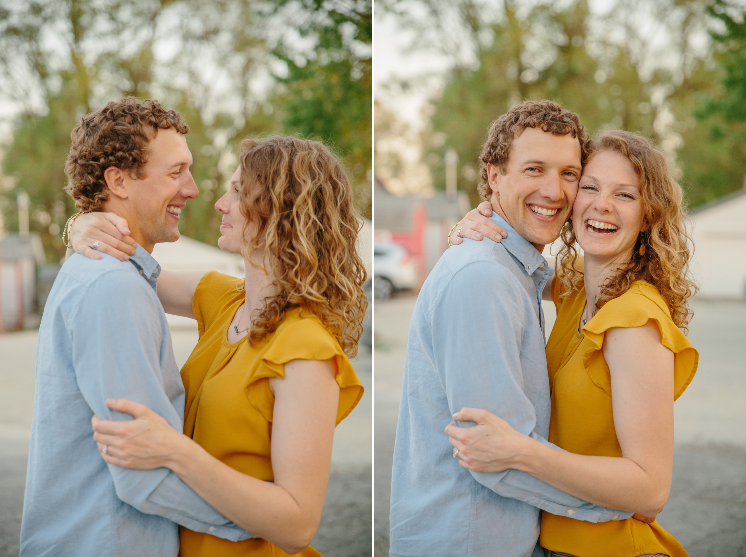 couple laughing in parking lot at sunset of Snookies in Des MOines