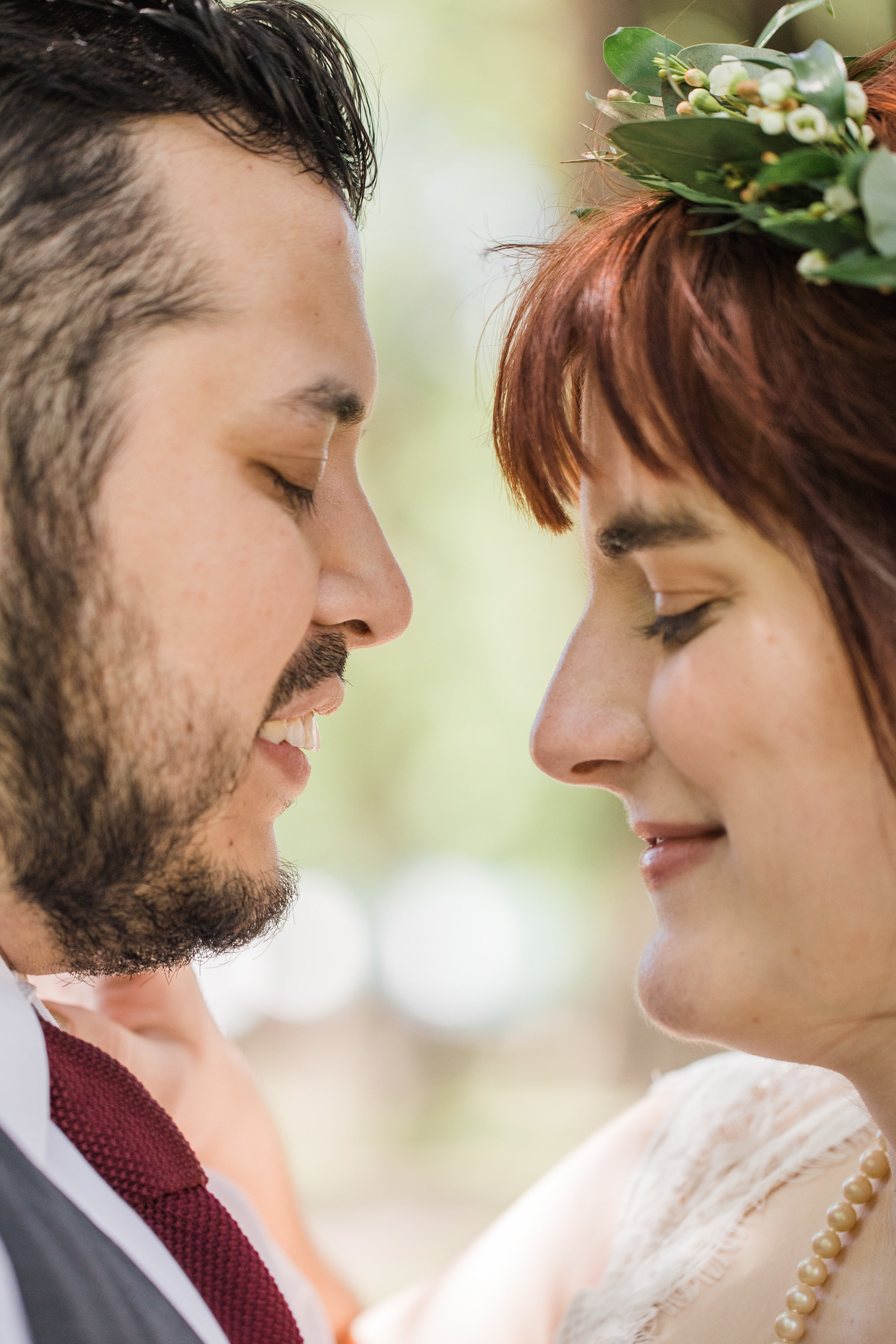 romantic iowa outdoors wedding first look photos lace dress close up photo