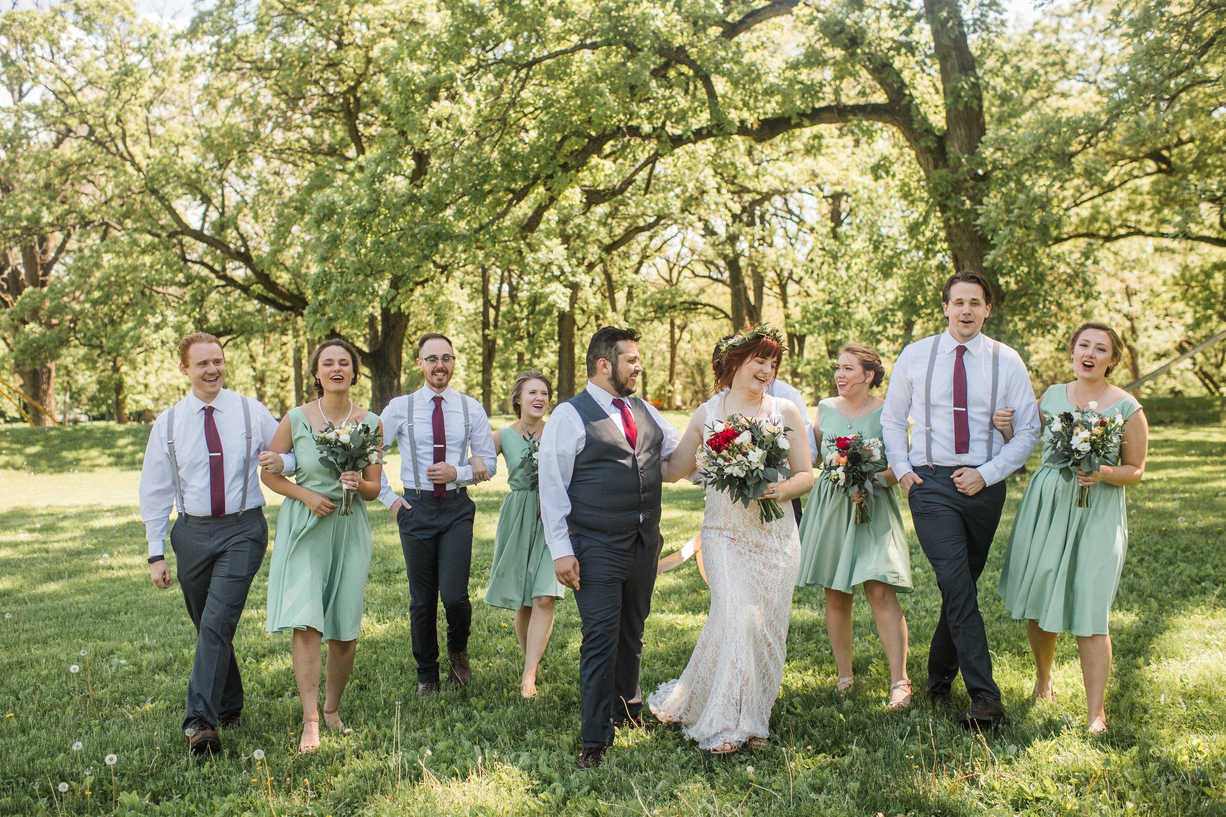 fun laughing bridal party wedding photos des moines