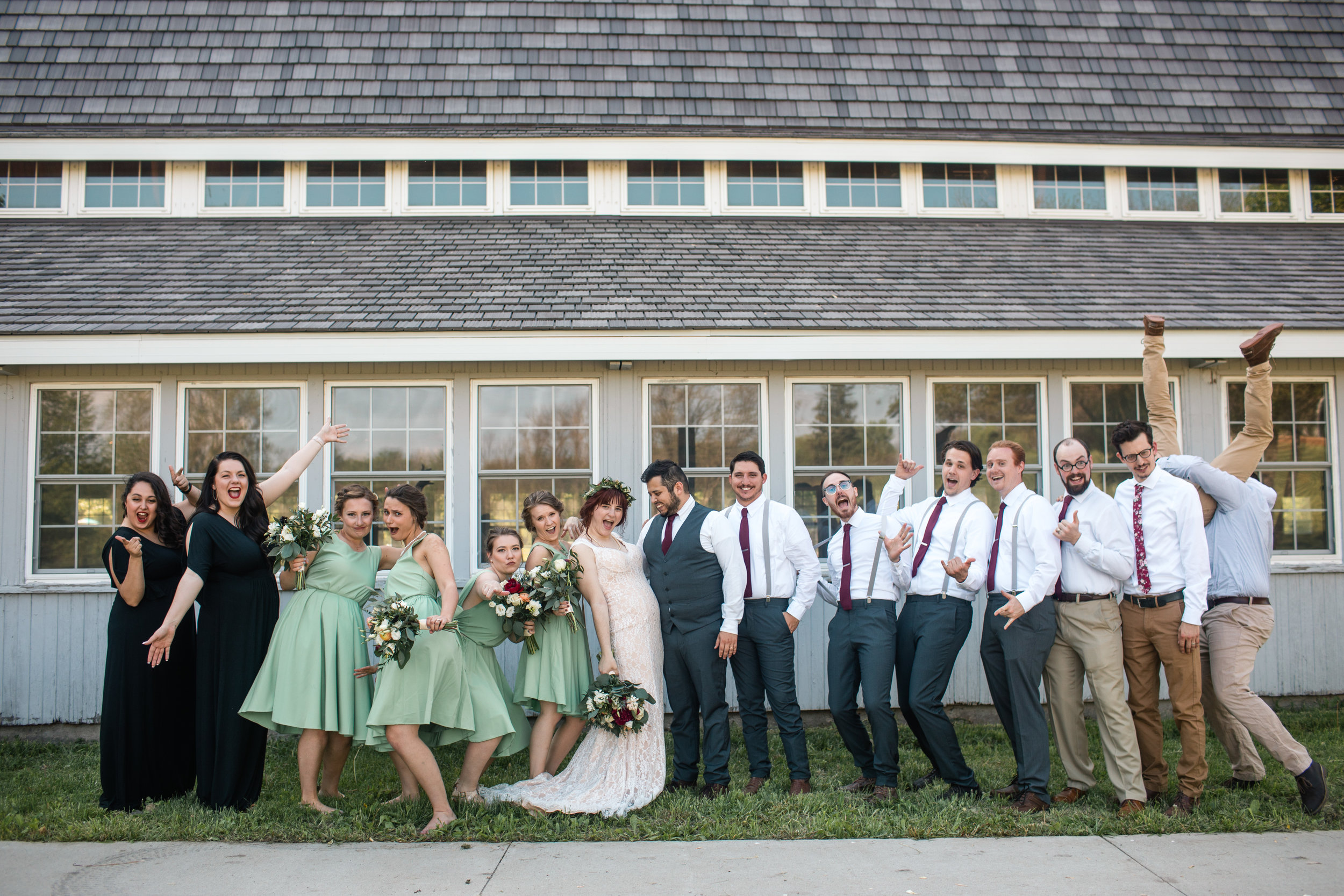 bridal party going crazy after the wedding des moines iowa photographers