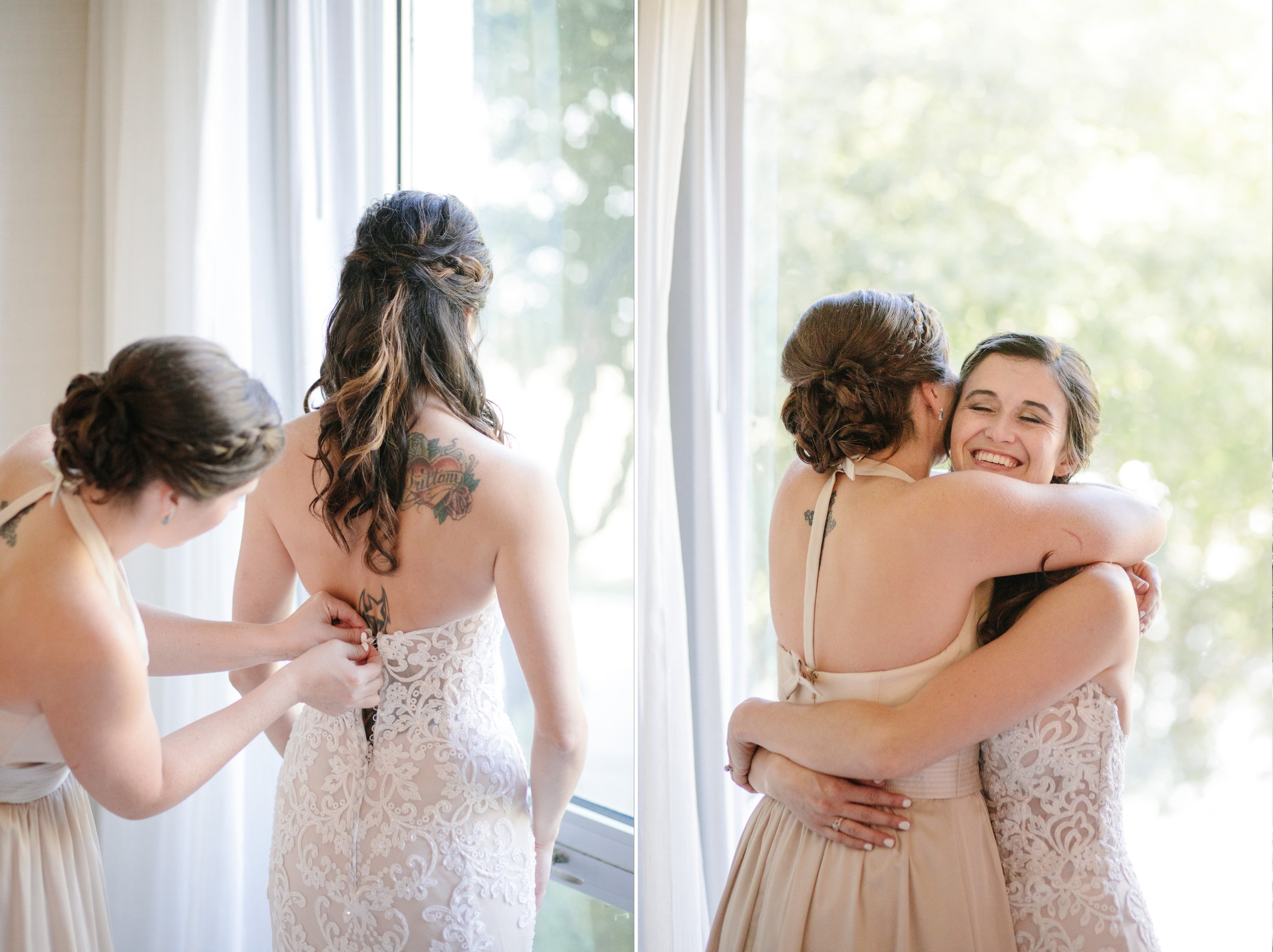 bride's sister and maid of honor holly helping her into dress and hugging on wedding day