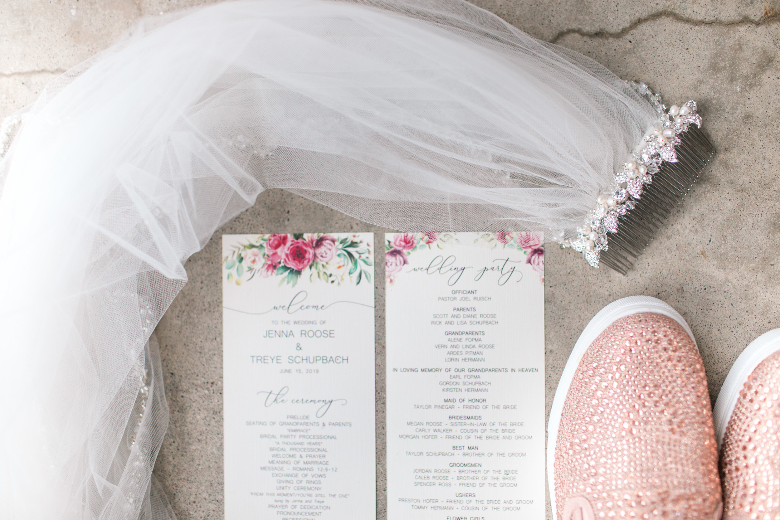 wedding shoes veil and programs