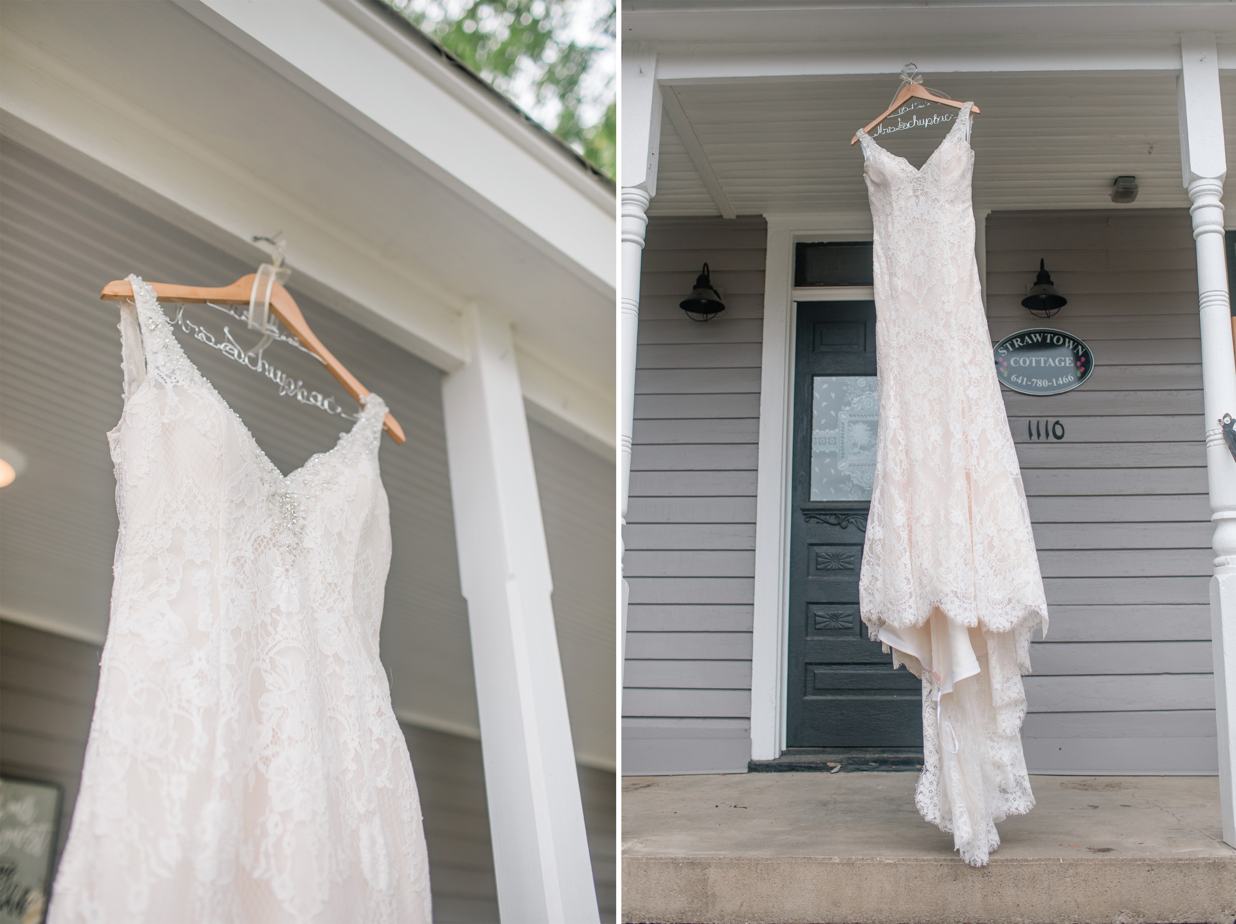 wedding dress hanging from cottage porch