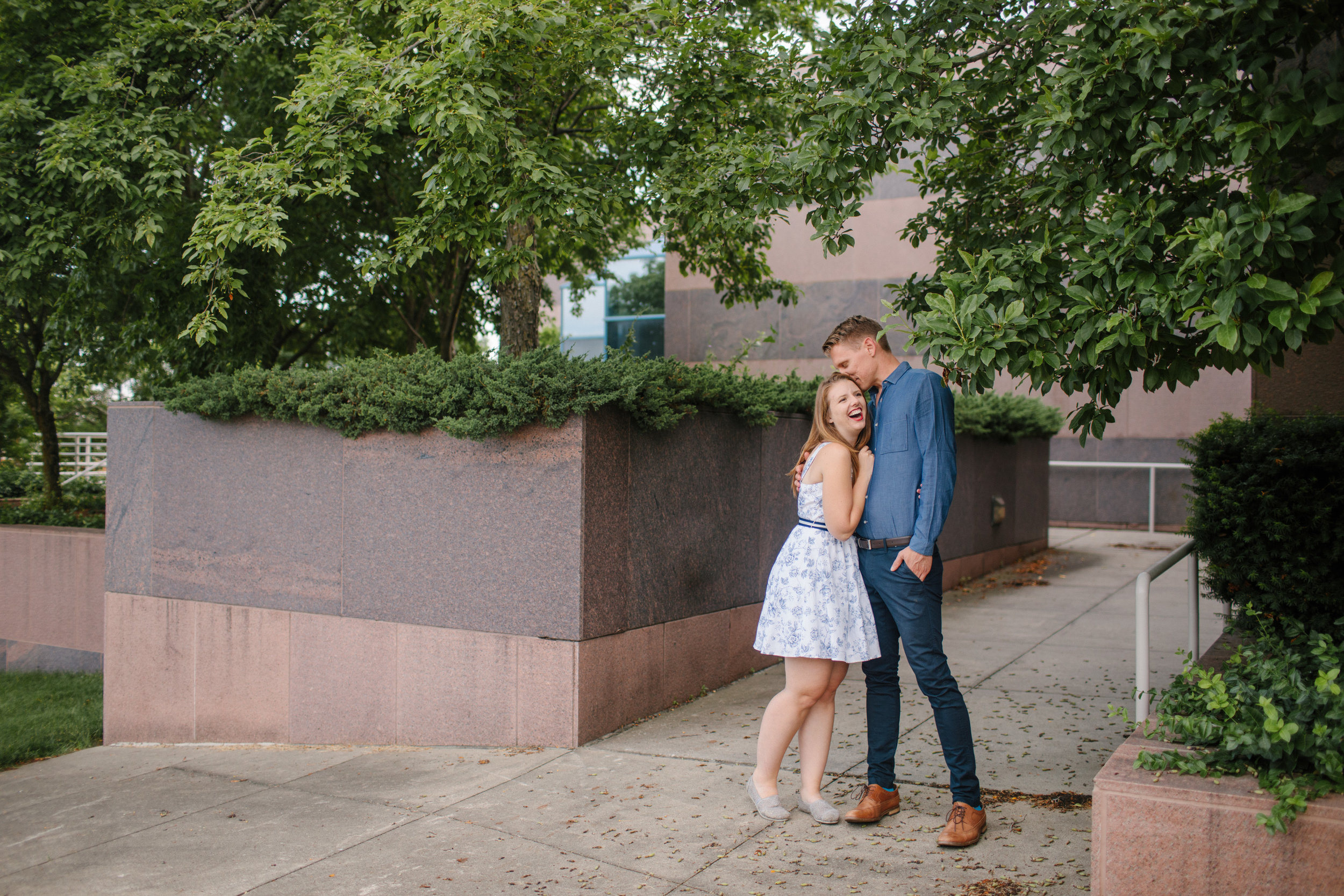 downtown des moines iowa engagement photos libby and joel