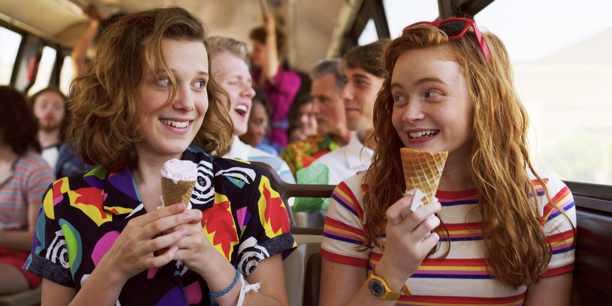 ice cream summer stranger things inspired senior photo shoot
