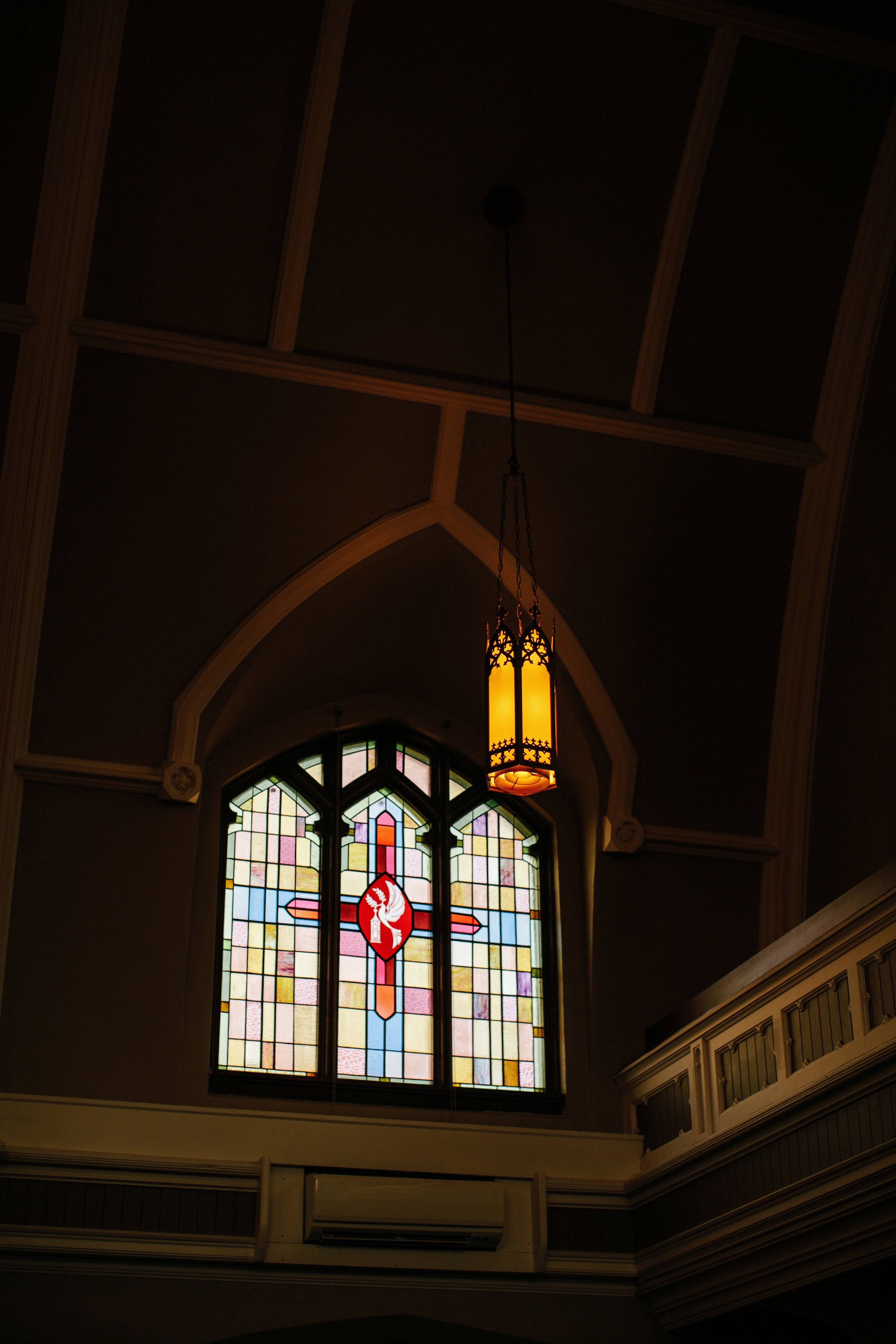 stained glass windows in rosemount steeple center wedding venue