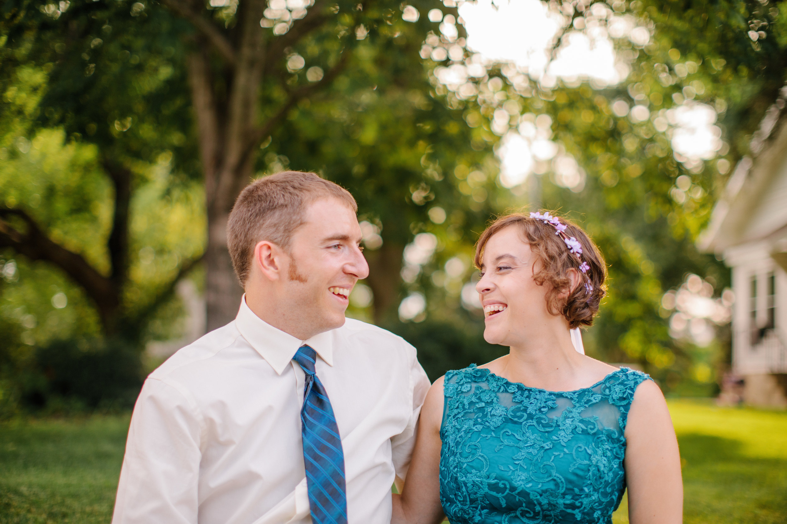 laughing together bride and groom wedding day pictures