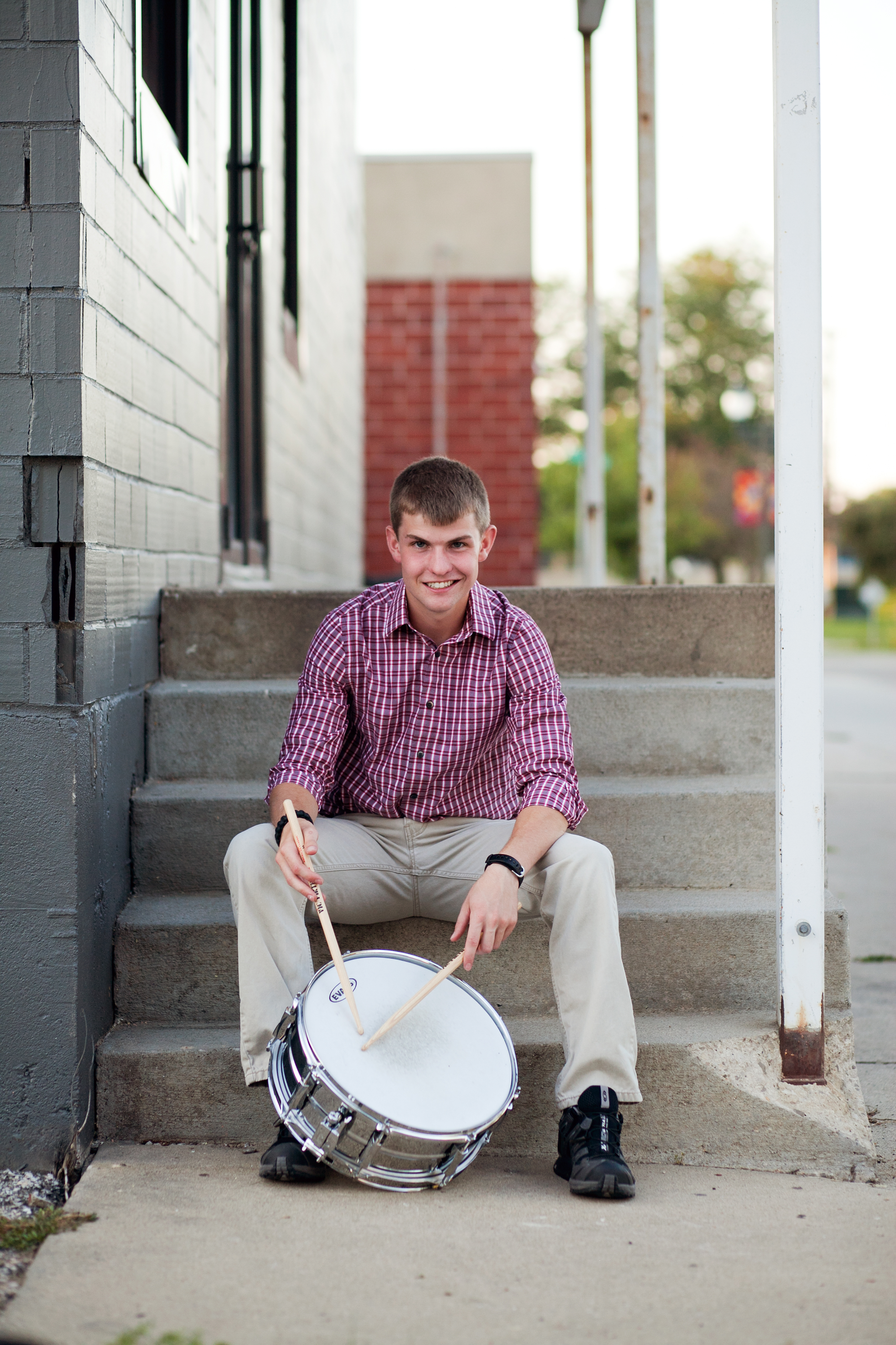 steven with drumset senior photos