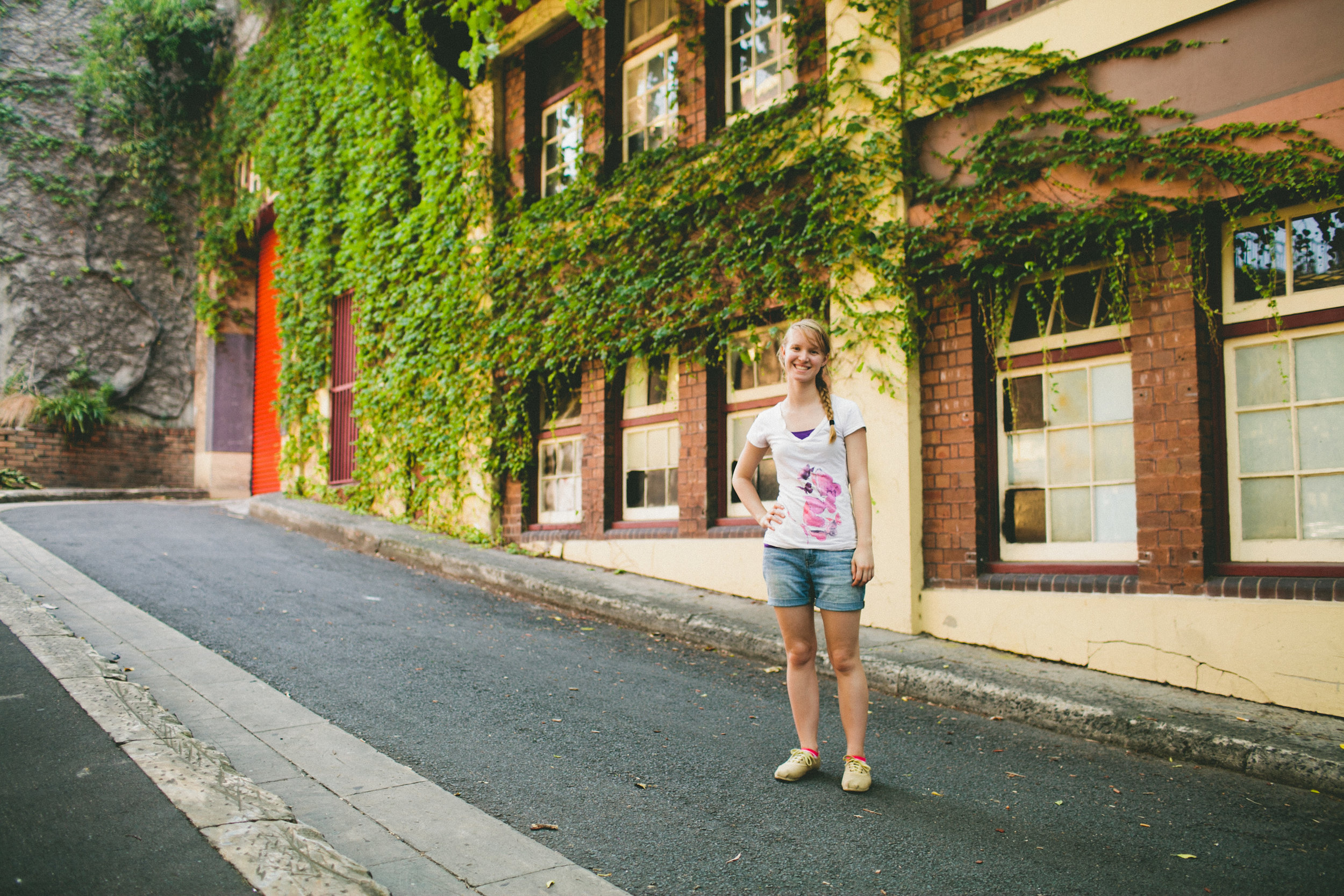clarissa in a cute alley in sydney australia