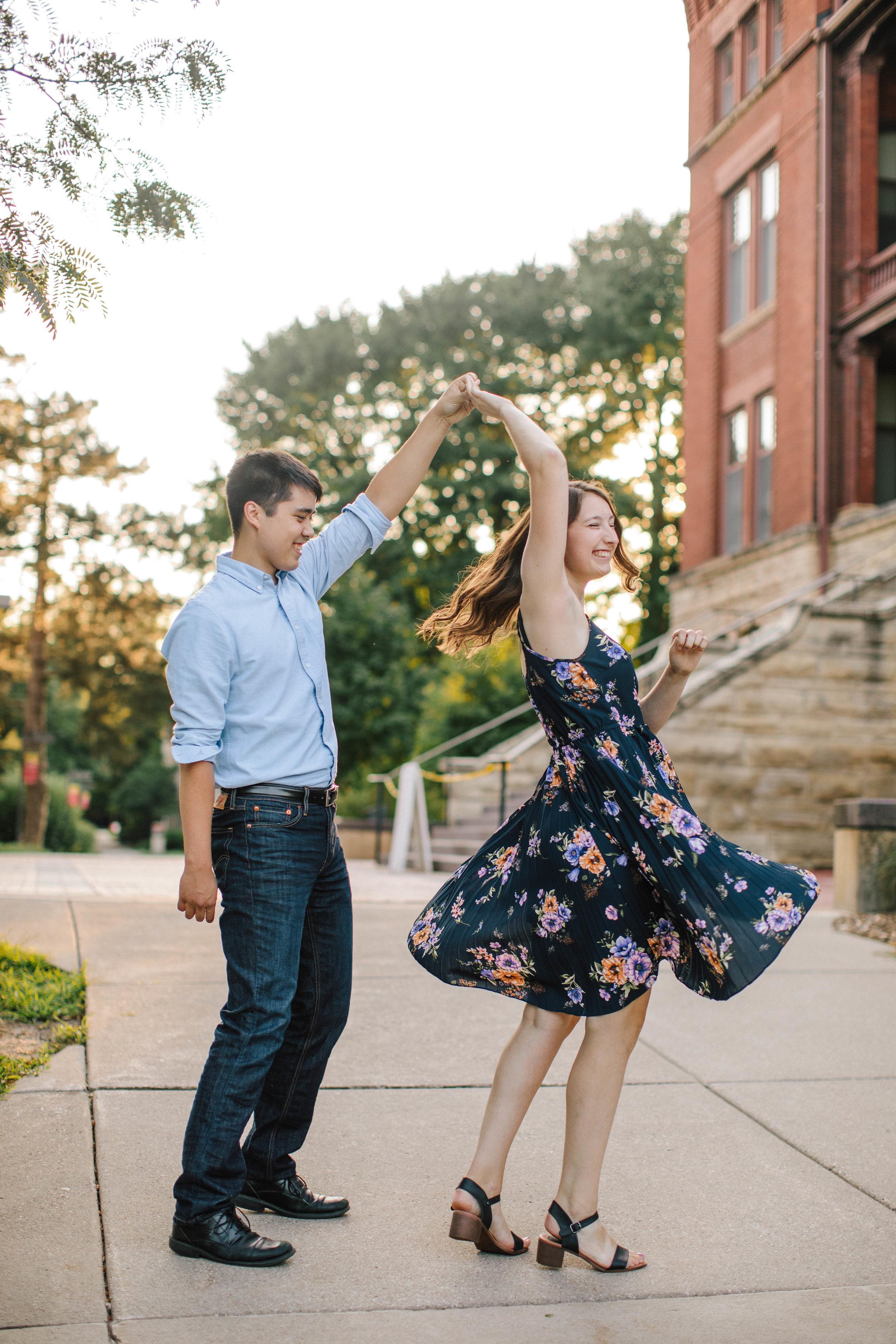 twirling in dress
