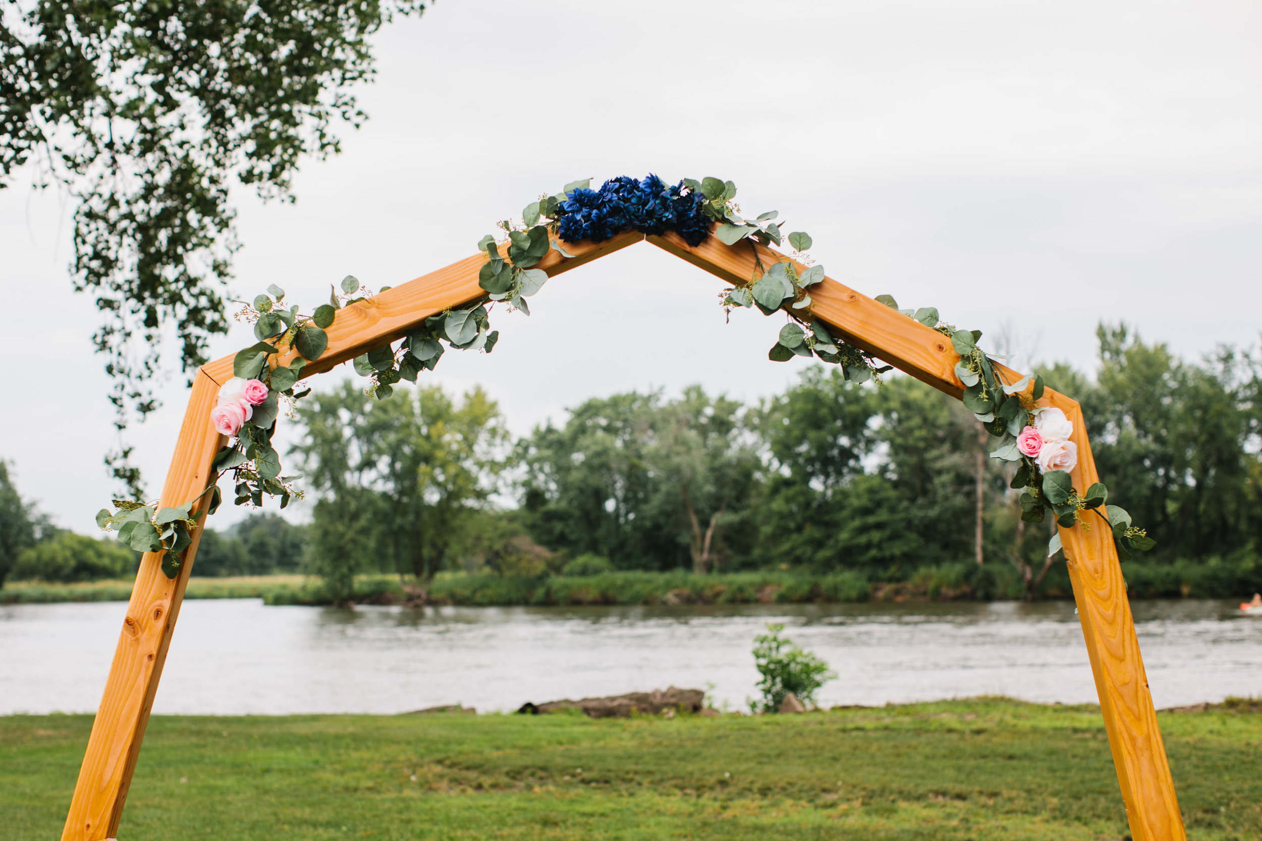 unique homemade geometric arch for wedding outdoor ceremony