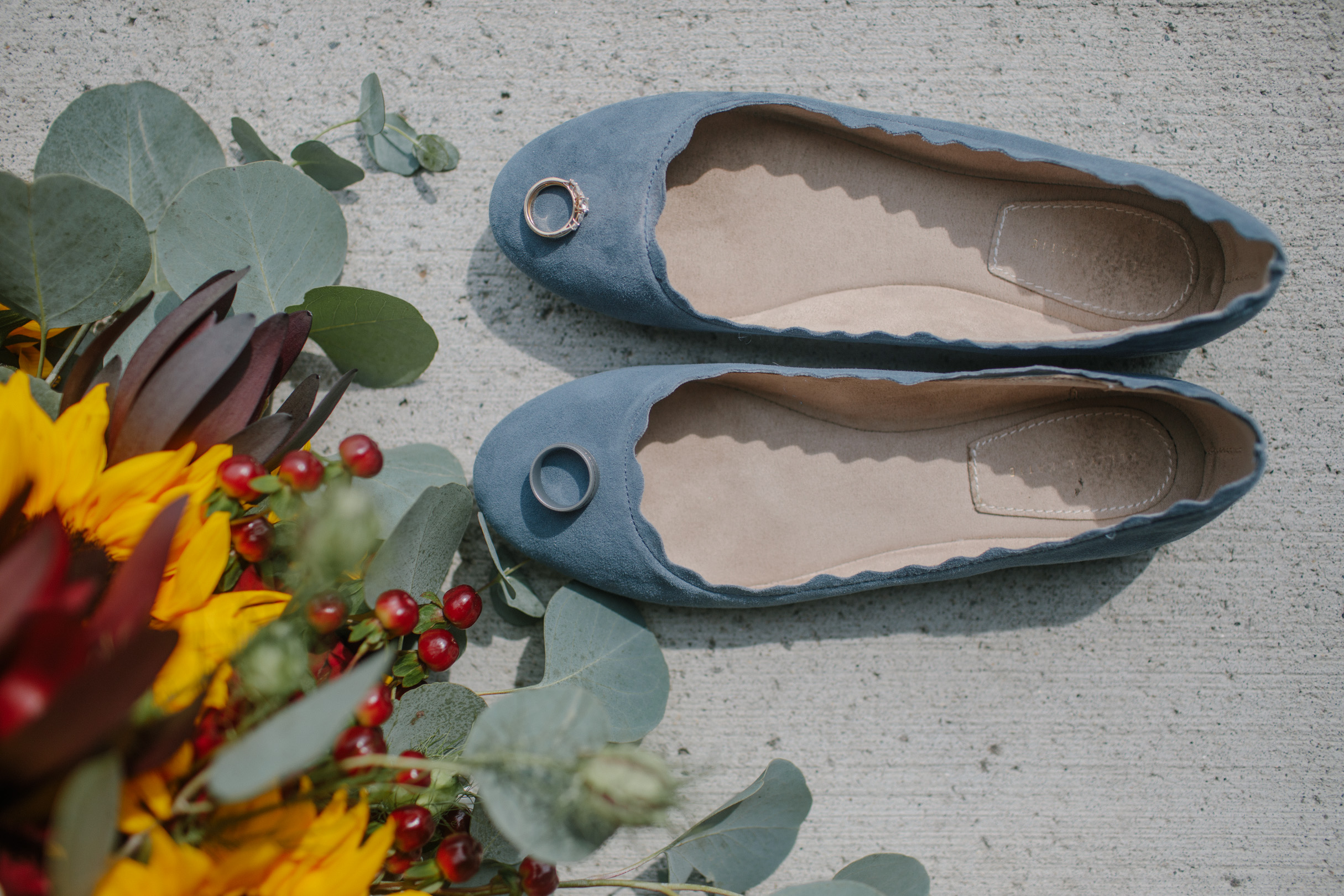 blue suede wedding shoes and rings