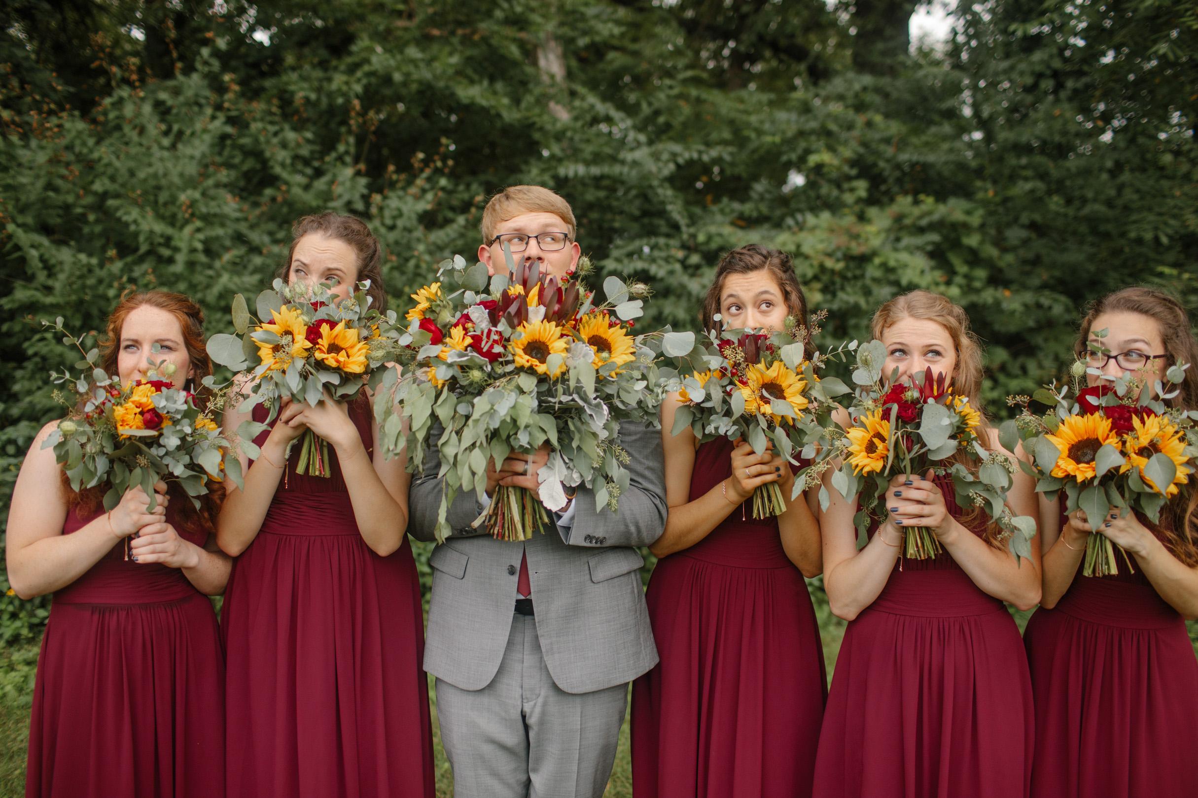 david with the bridesmaids