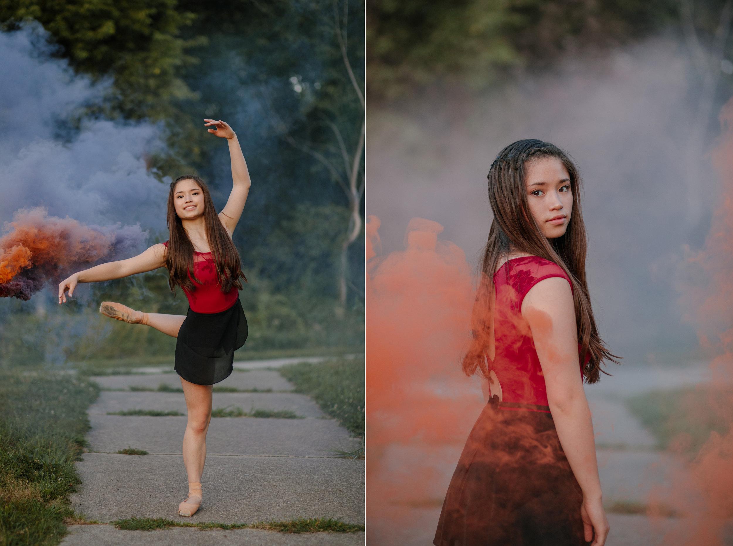 smoke bomb dance senior photos west des moines