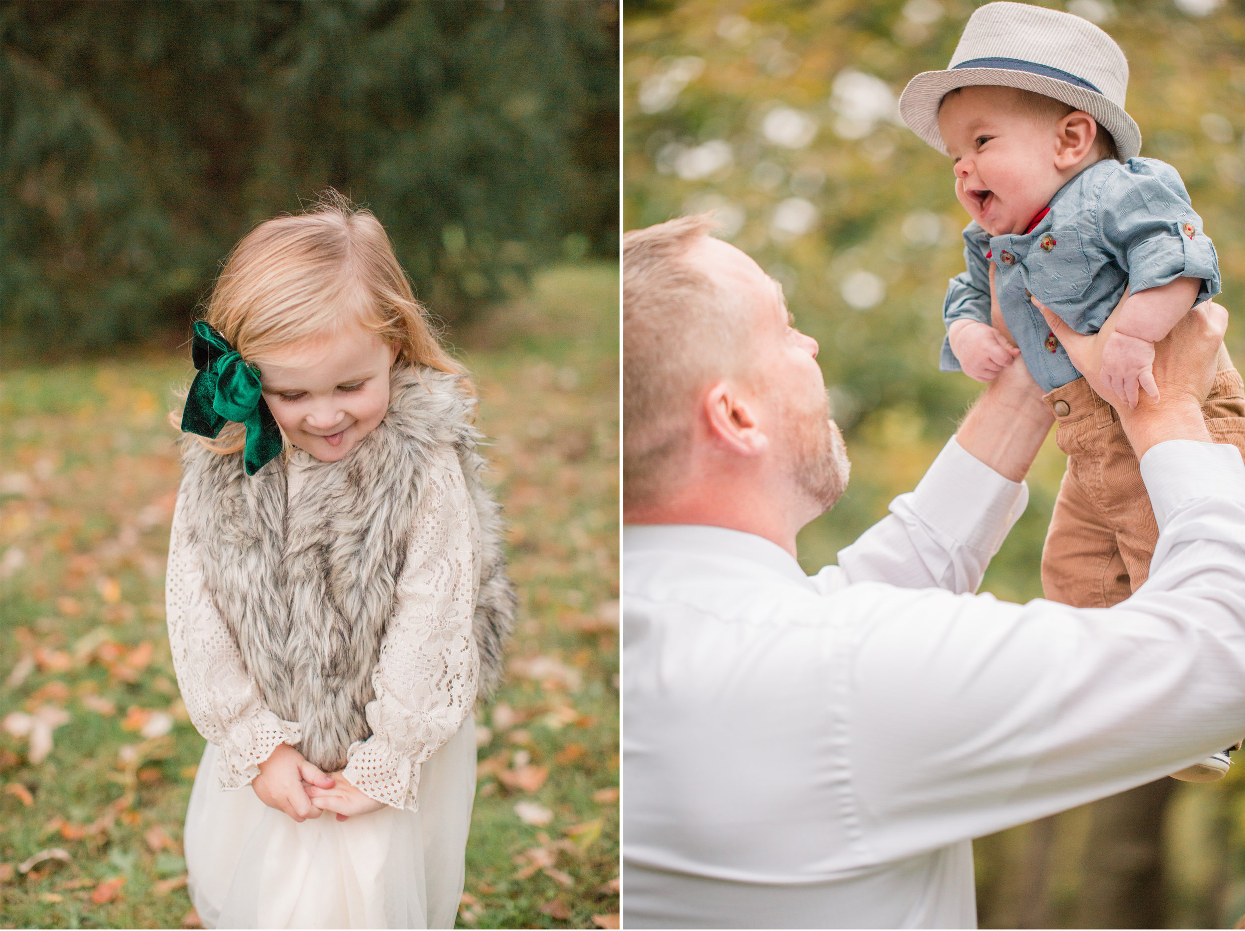 cute kids smiling and laughing with dad during fall mini photos