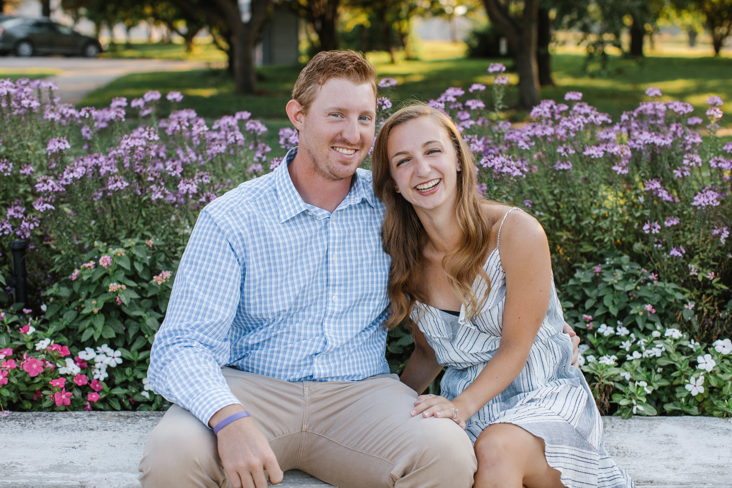 laughing during engagement photos