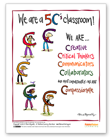 Peter H. Reynolds Poster: We're a 5 C's Classroom