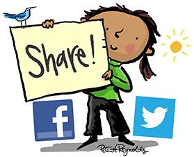 share_girl_facebook_twitter