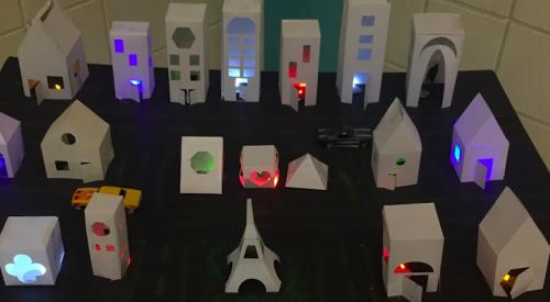 Illuminated city constructed by Oak Ridge School, MA students using Fab@School Maker Studio.