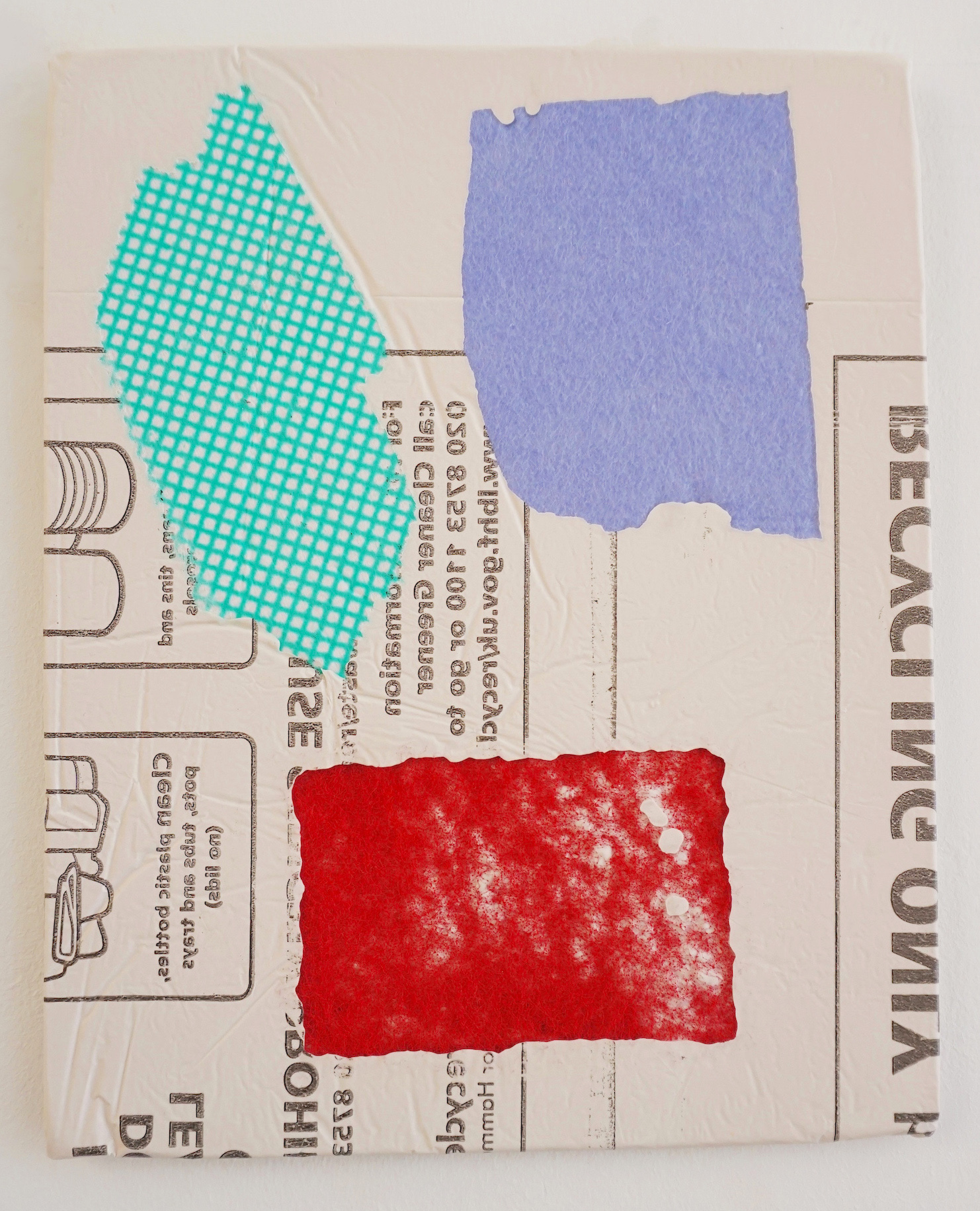 Domestic Bliss Recycled Fragment (green, red, purple) | Composite, Mixed Media | 35 x 28 cm