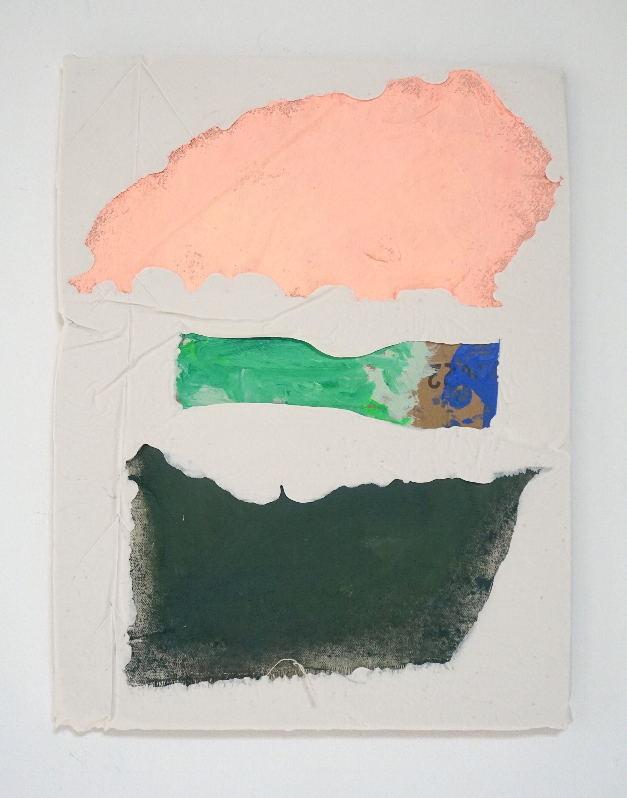 Untitled Fragment (pink and green canvas, found cardboard, paint) | Composite and Mixed Media | 42 x 32 cm