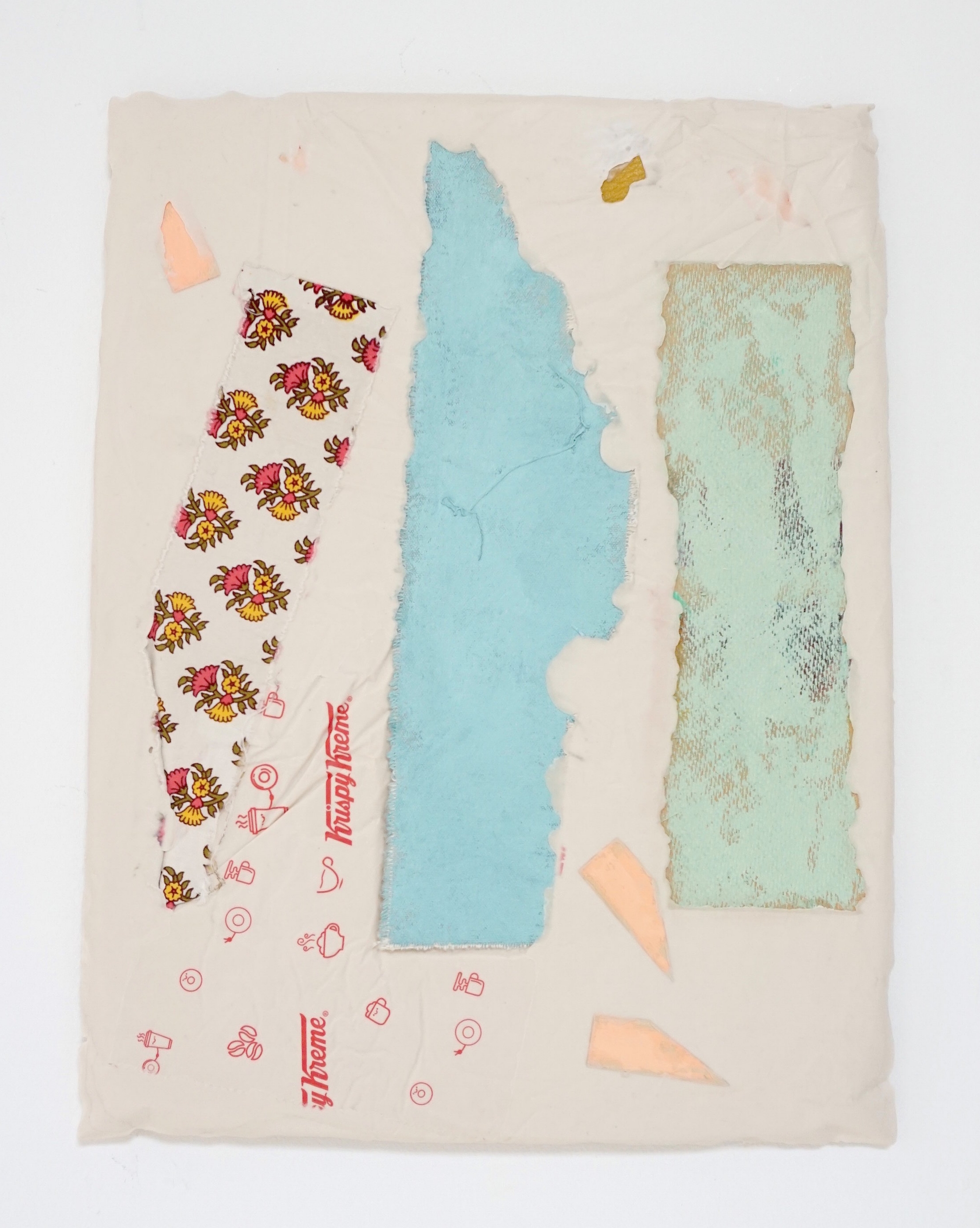 Untitled Fragment (found fabric, Krispy Kreme wrapper, pink wedges, canvas, wood) | Composite and Mixed Media | 42 x 32 cm