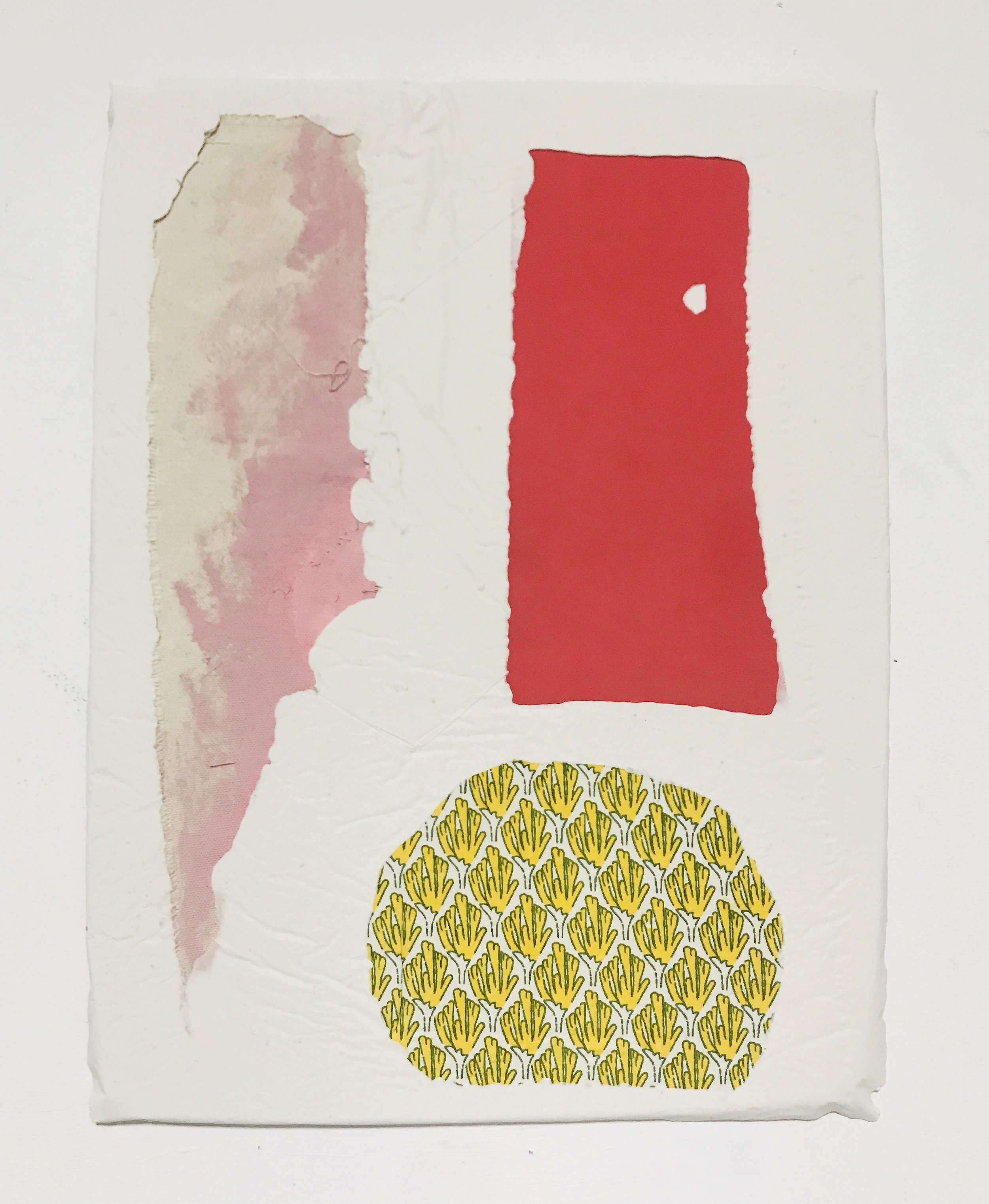 Untitled Fragment (pink canvas, red foam, yellow cotton) | Composite and Mixed Media | 42 x 32cm