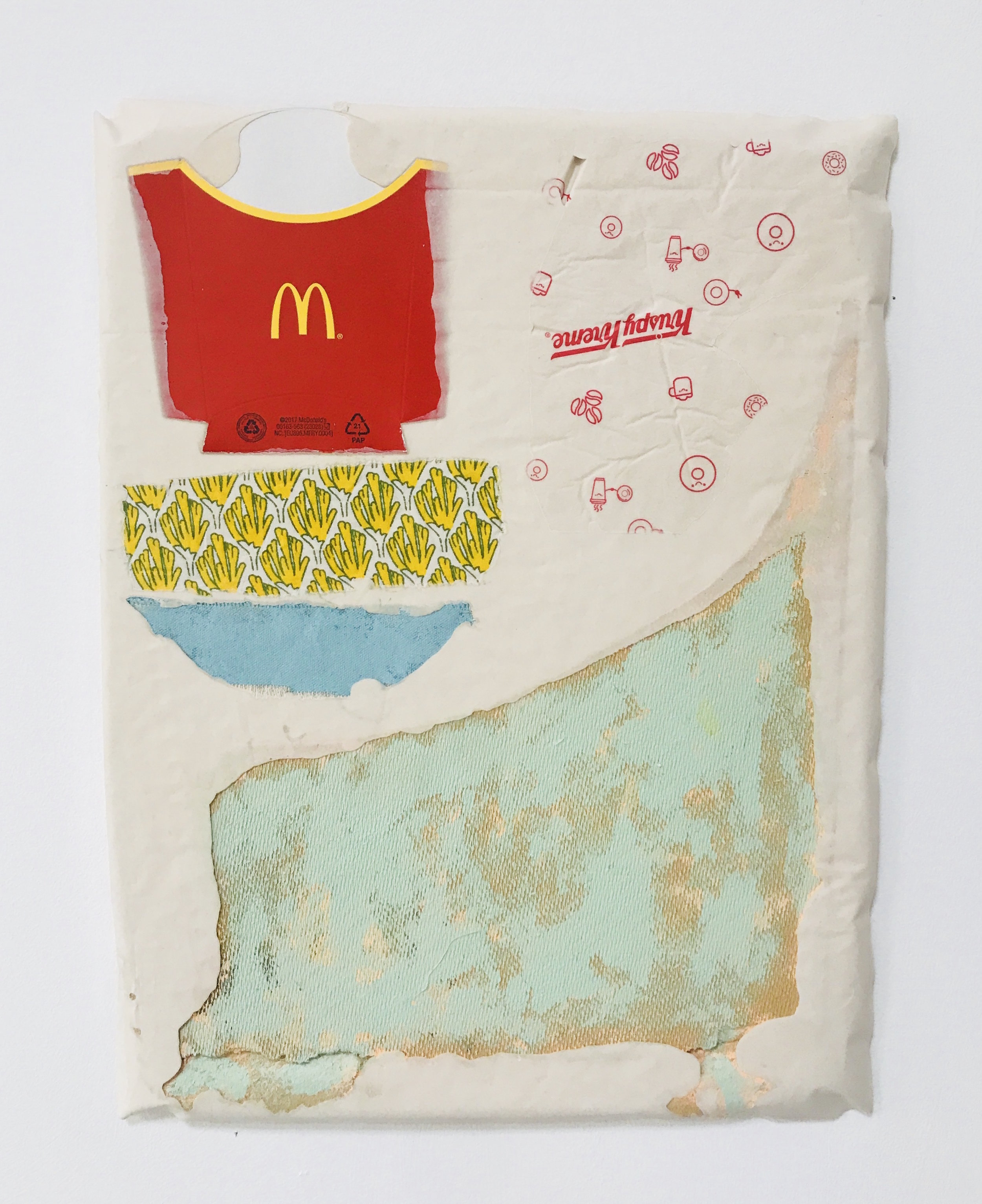 Untitled Fragment (found fabric, Krispy Kreme wrapper, canvas, wood, Mcdonalds chip packet) | Composite and Mixed Media | 42 x 32 cm