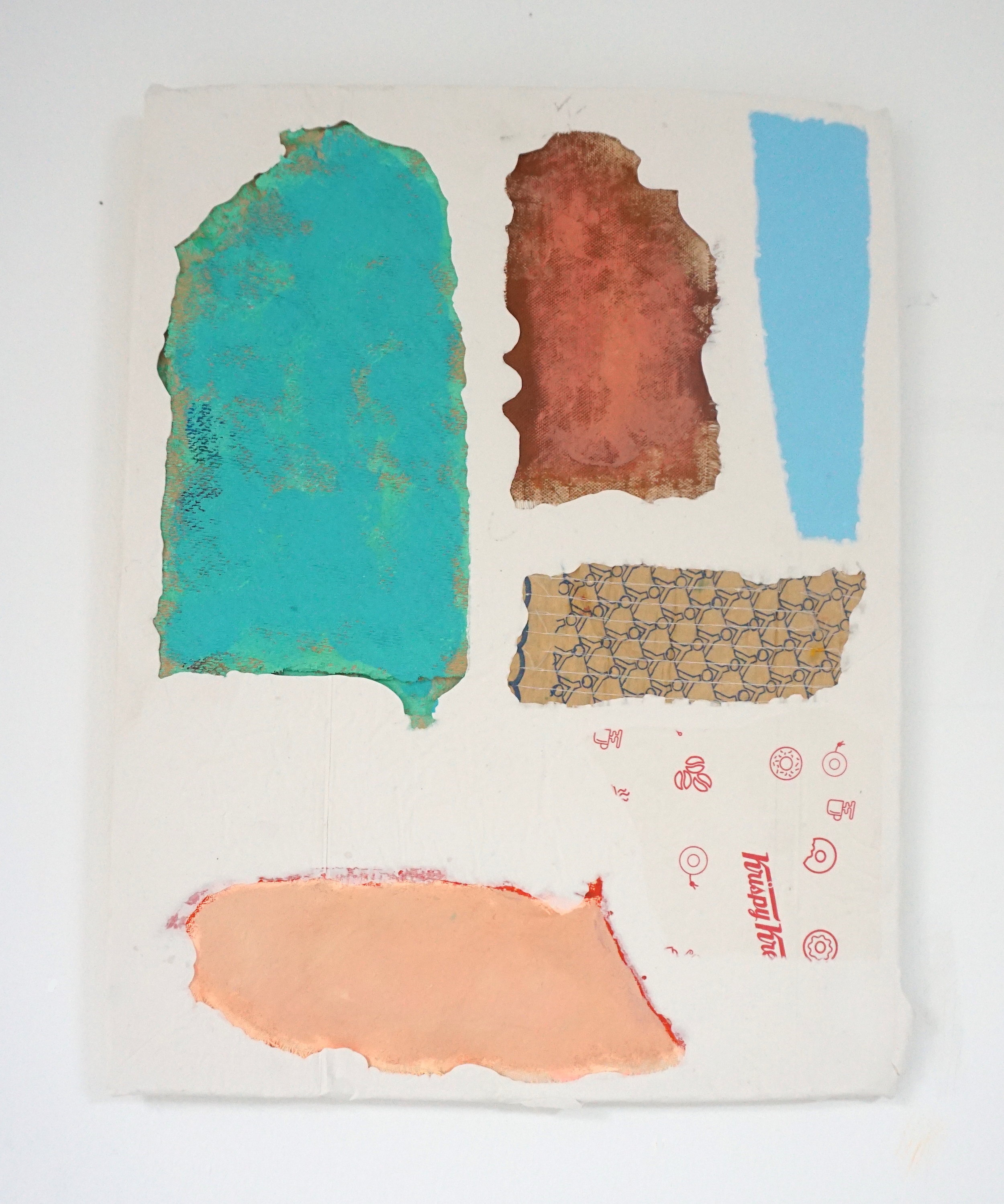 Untitled Fragment (canvas, found painted wood, carpet underlay, pvc, Krispy Kreme wrapper) | Composite and Mixed Media | 42 x 32 cm