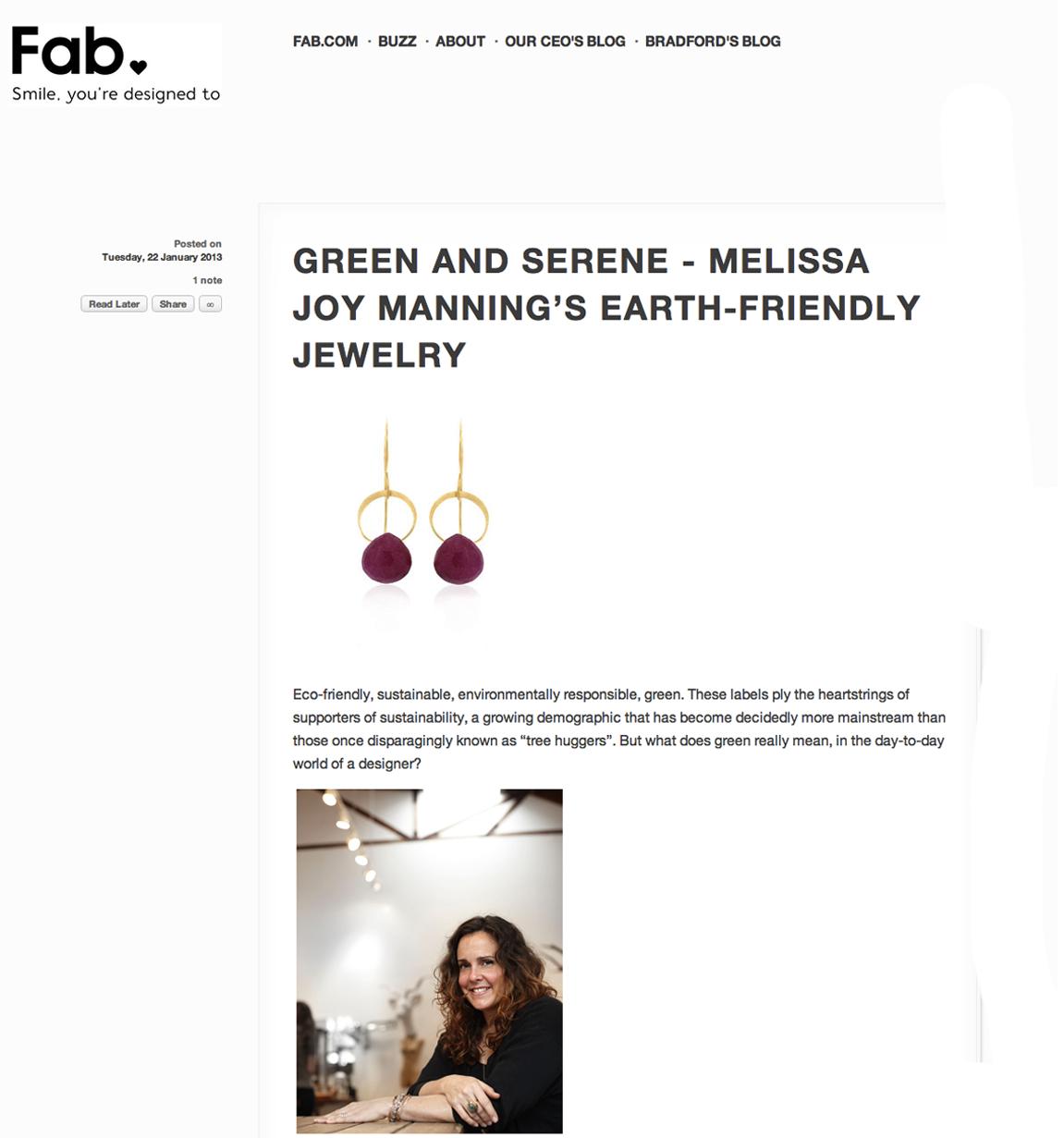 Melissa Joy Manning - Fab Blog