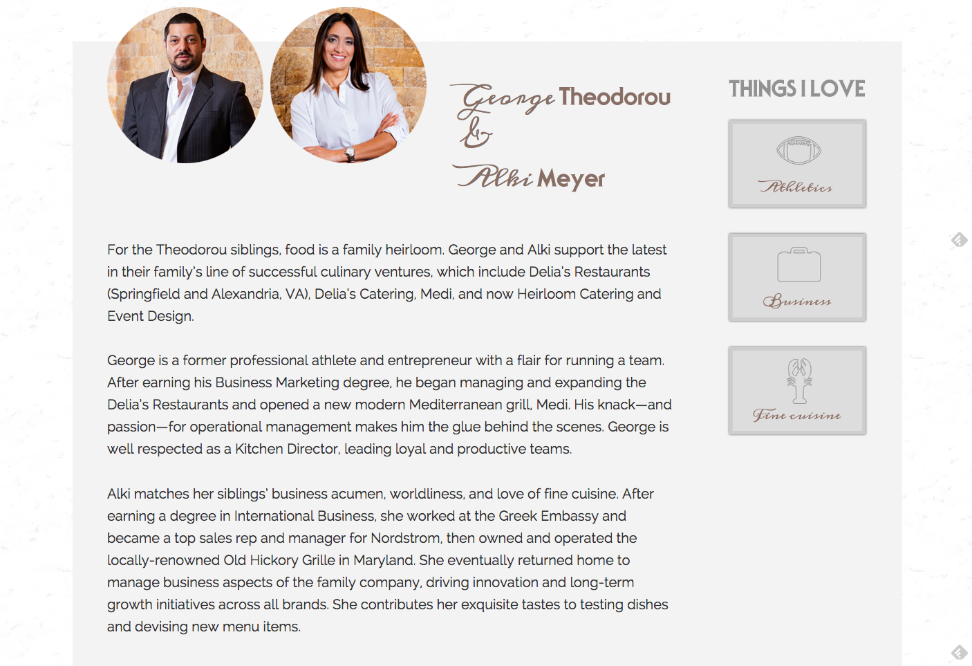Brand Bios | Heirloom Catering & Event Design