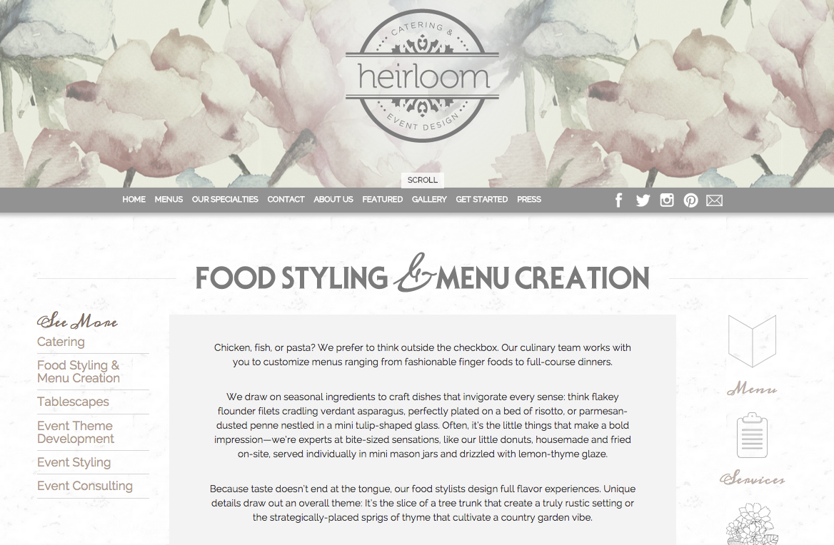Website Copy| Heirloom Catering & Event Design