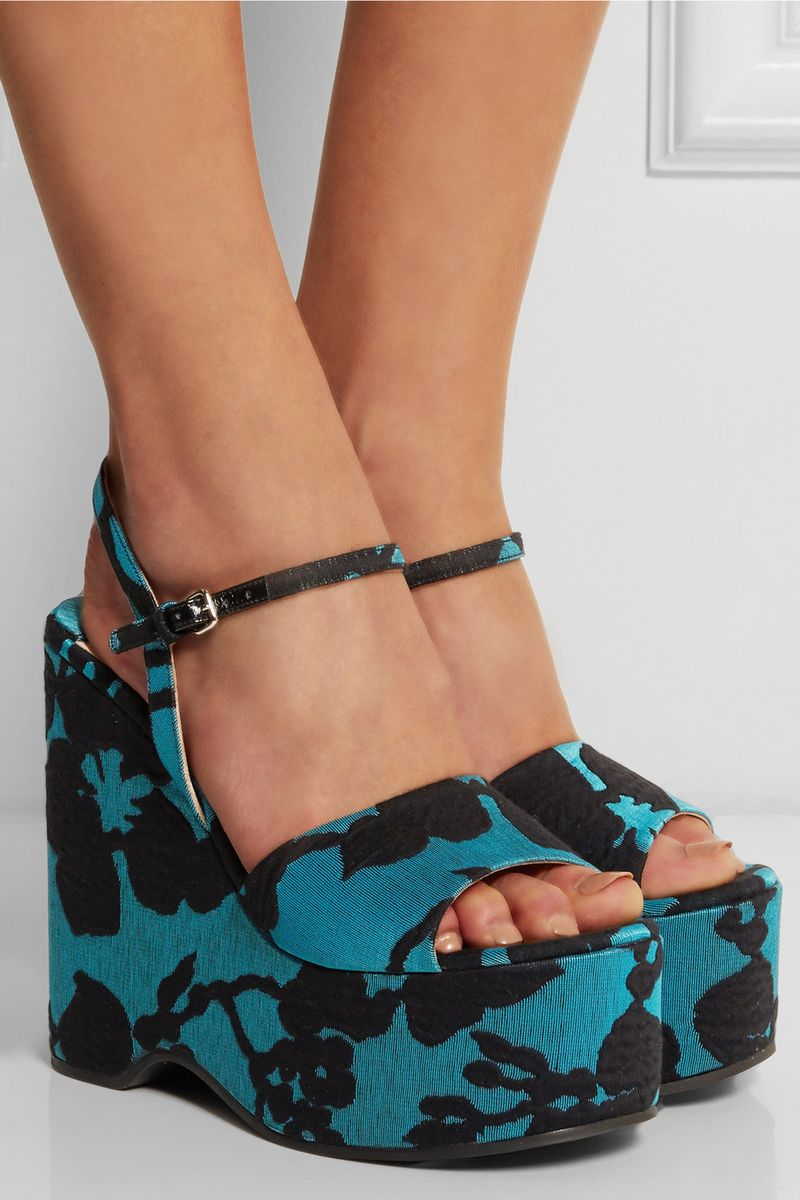 You can purchase these new Miu Miu platforms for $795- from  Colored suede and velvet...