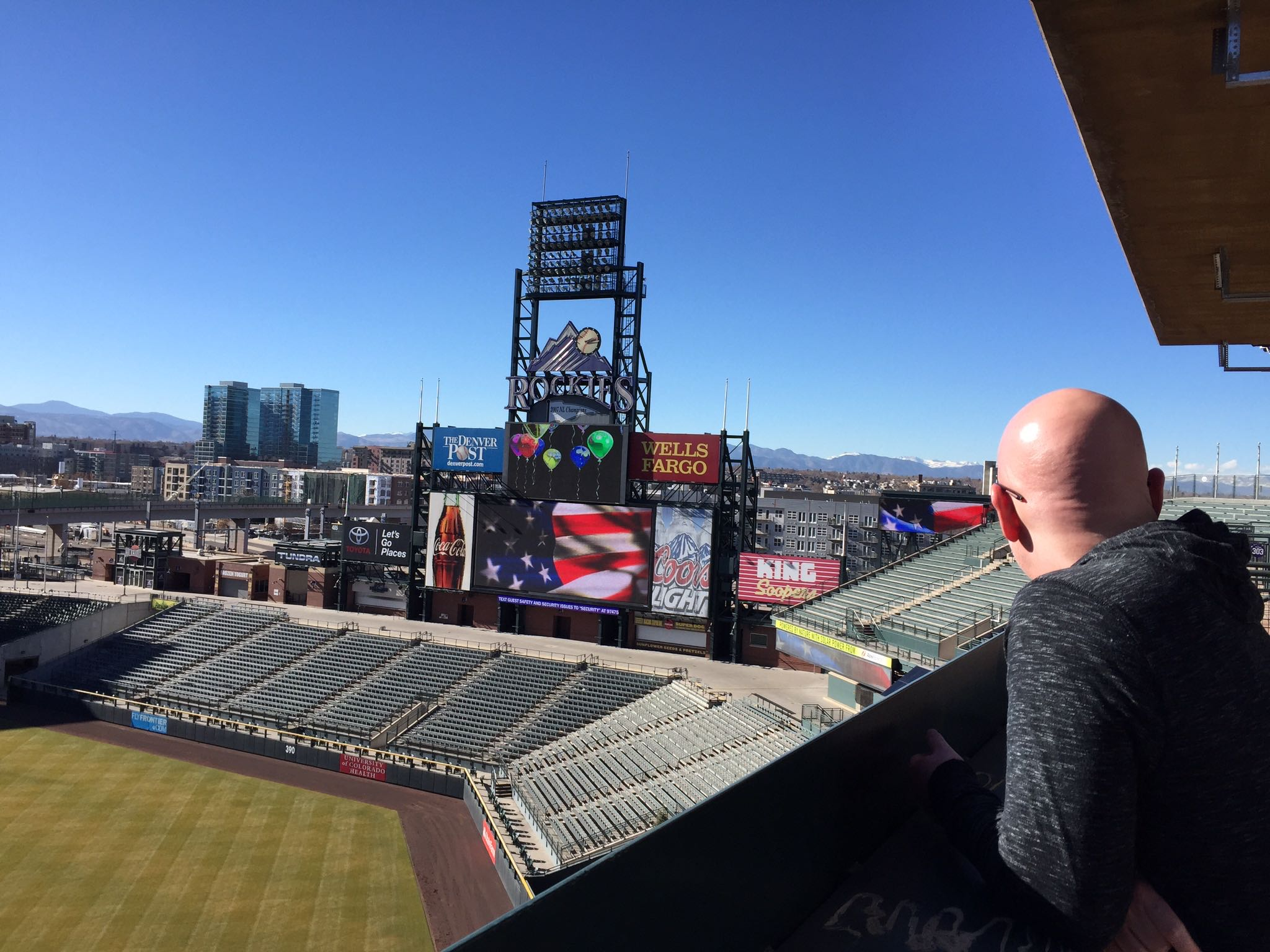Michael checks out the LED testing on the scoreboard at Coors Field. The view of the mountains to the North is grand.