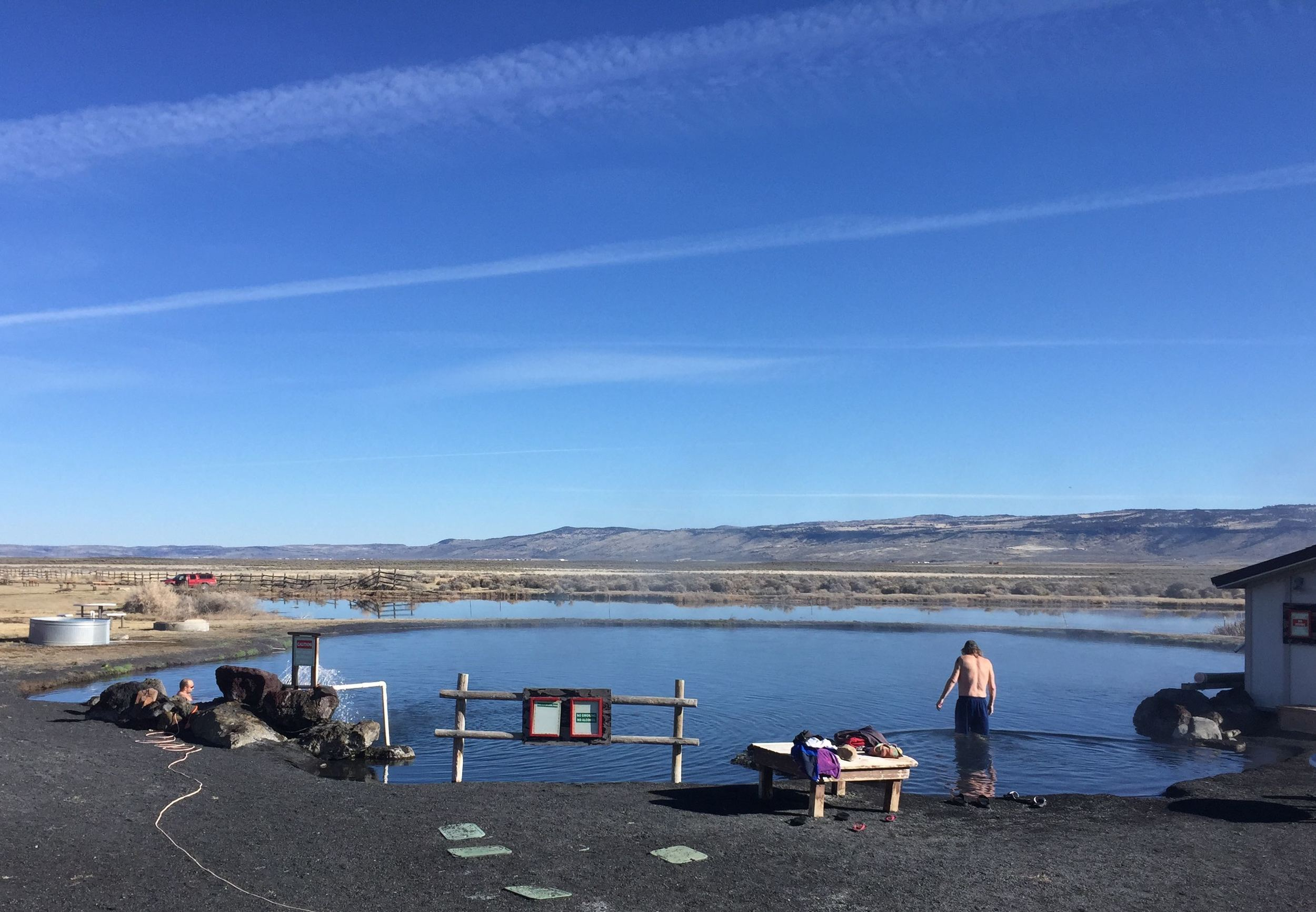 The large pond at Crystal Crane Hot Springs, Burns, OR