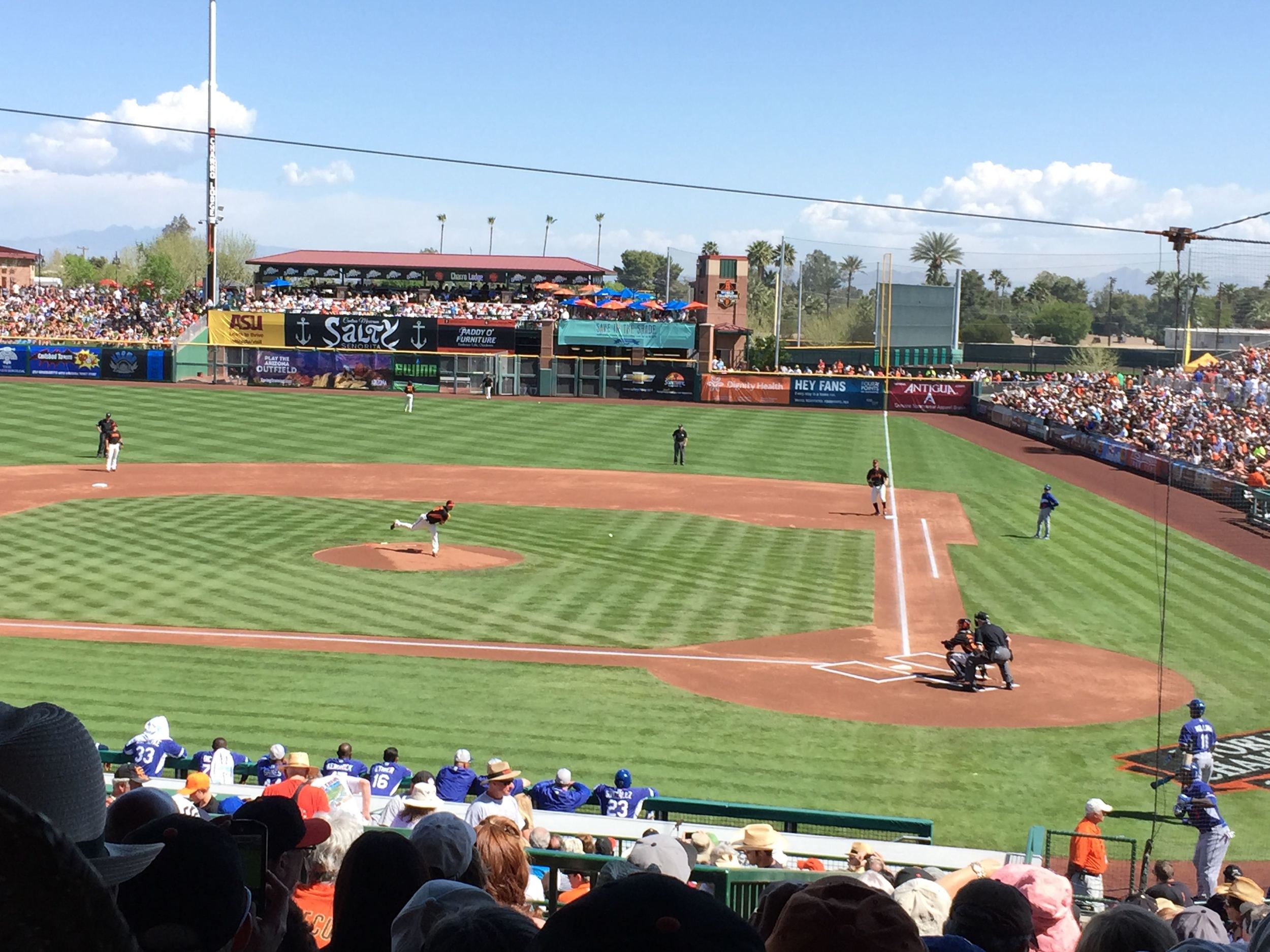And watching some baseball of course. In this case, Matt Cain looking sharp over two innings in his first spring training game.