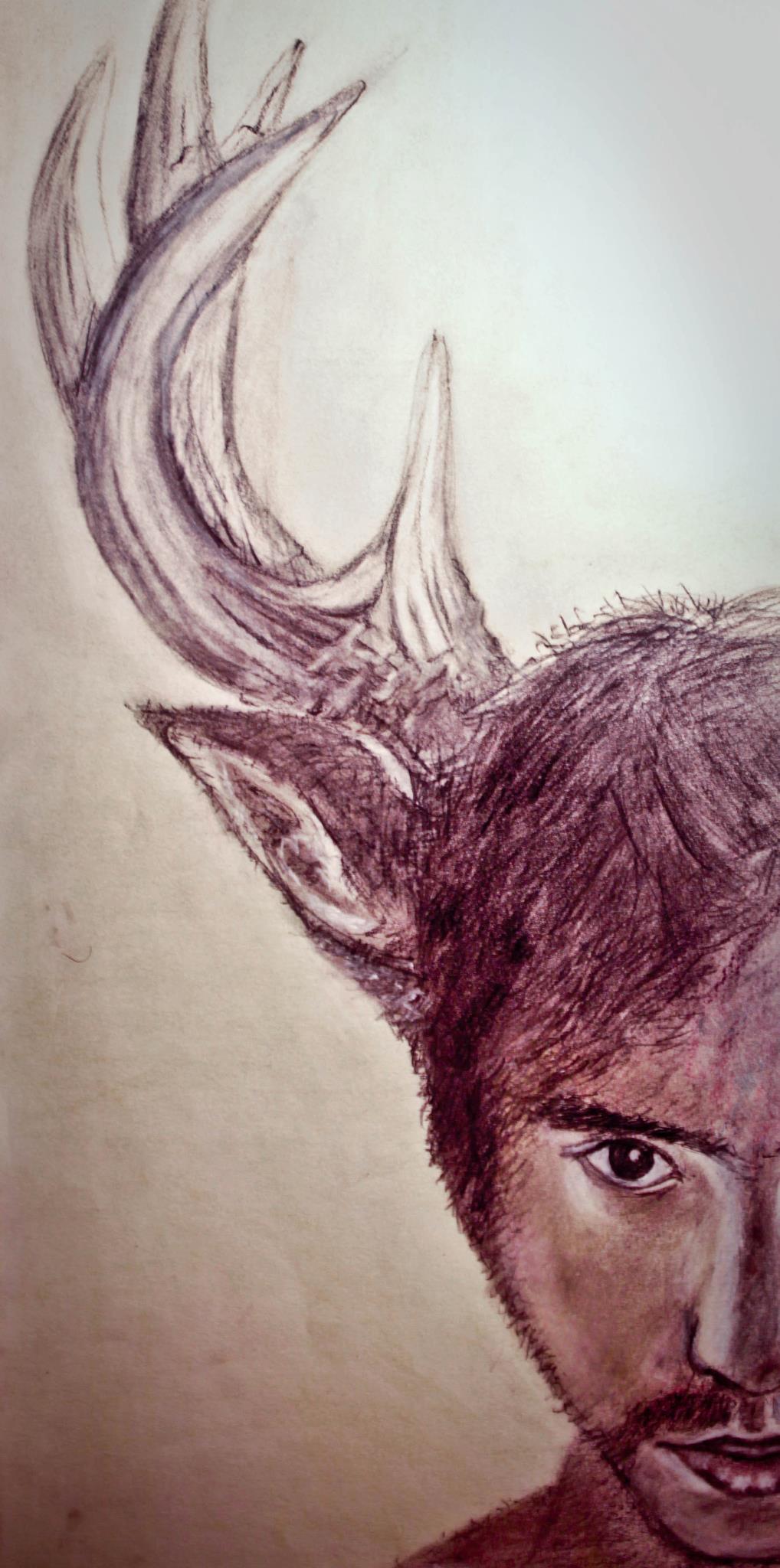 """Self-portrait. Color pencil on paper. 12"""" x 28"""".2012."""