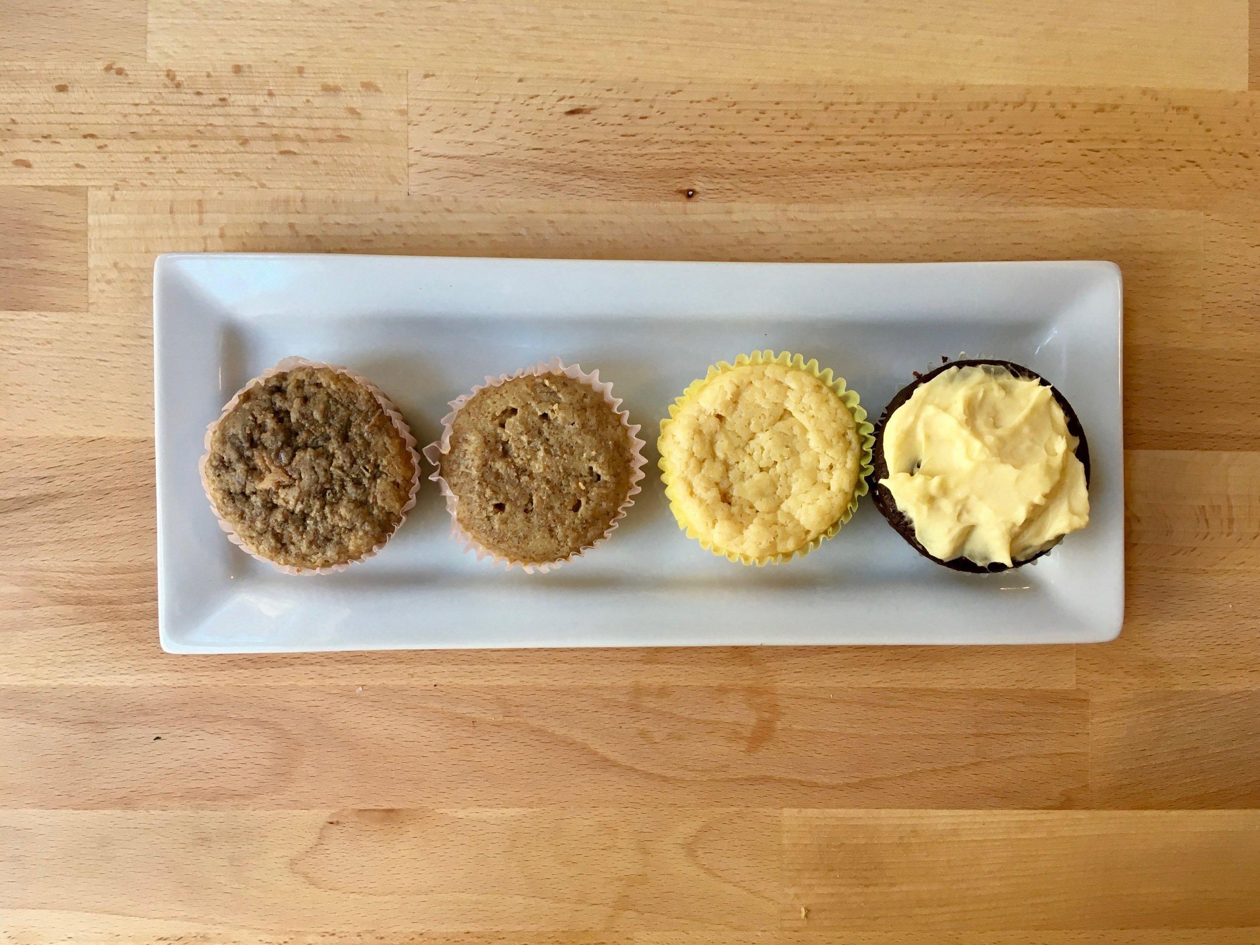 "My tests from left to right: Banana ""cupcake"", Vanilla Chai, Vanilla Orange, and Chocolate"