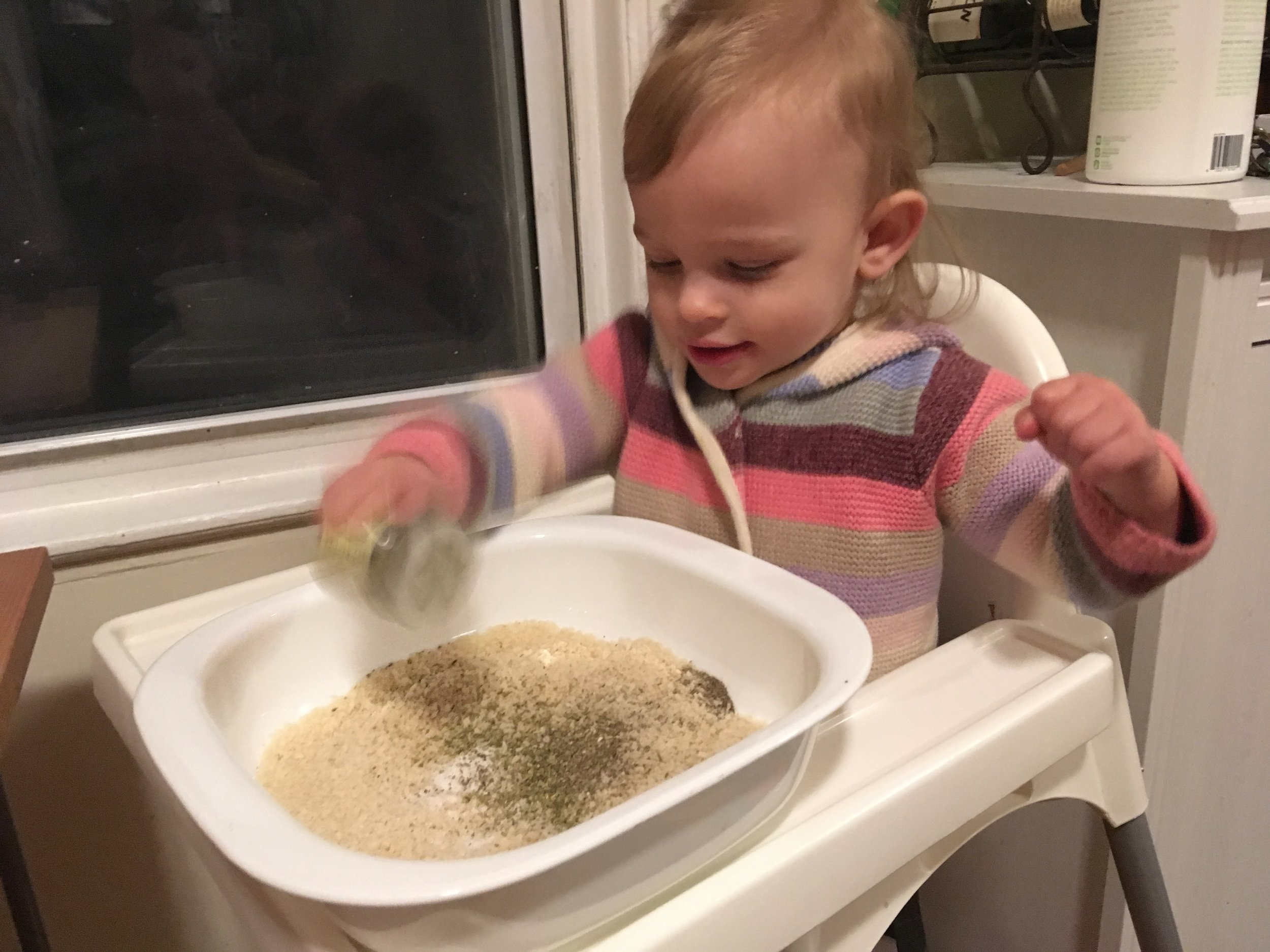 My little Ava, chef in training! She loves to shake the spice jars when we're cooking together.