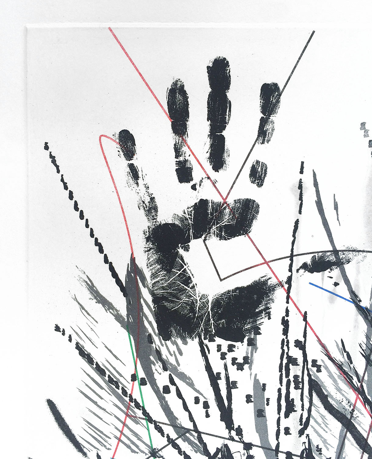Detail. In addition to making marks with paintbrush, sticks,and airbrush, Mehretu used her hands and arms to attack the surface.