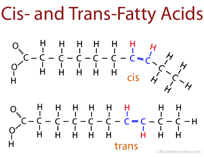Here are the two types of unsaturated fats. Cis have the hydrogen on the same side and trans alternate sides.