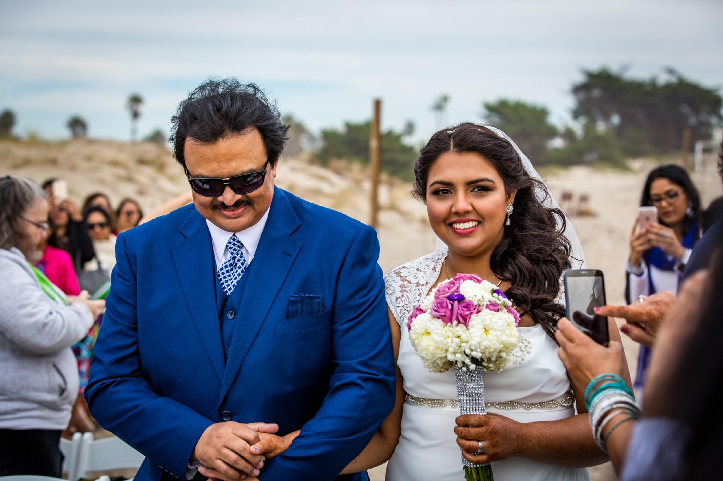 bride-and-dad-Ventura Beach Wedding